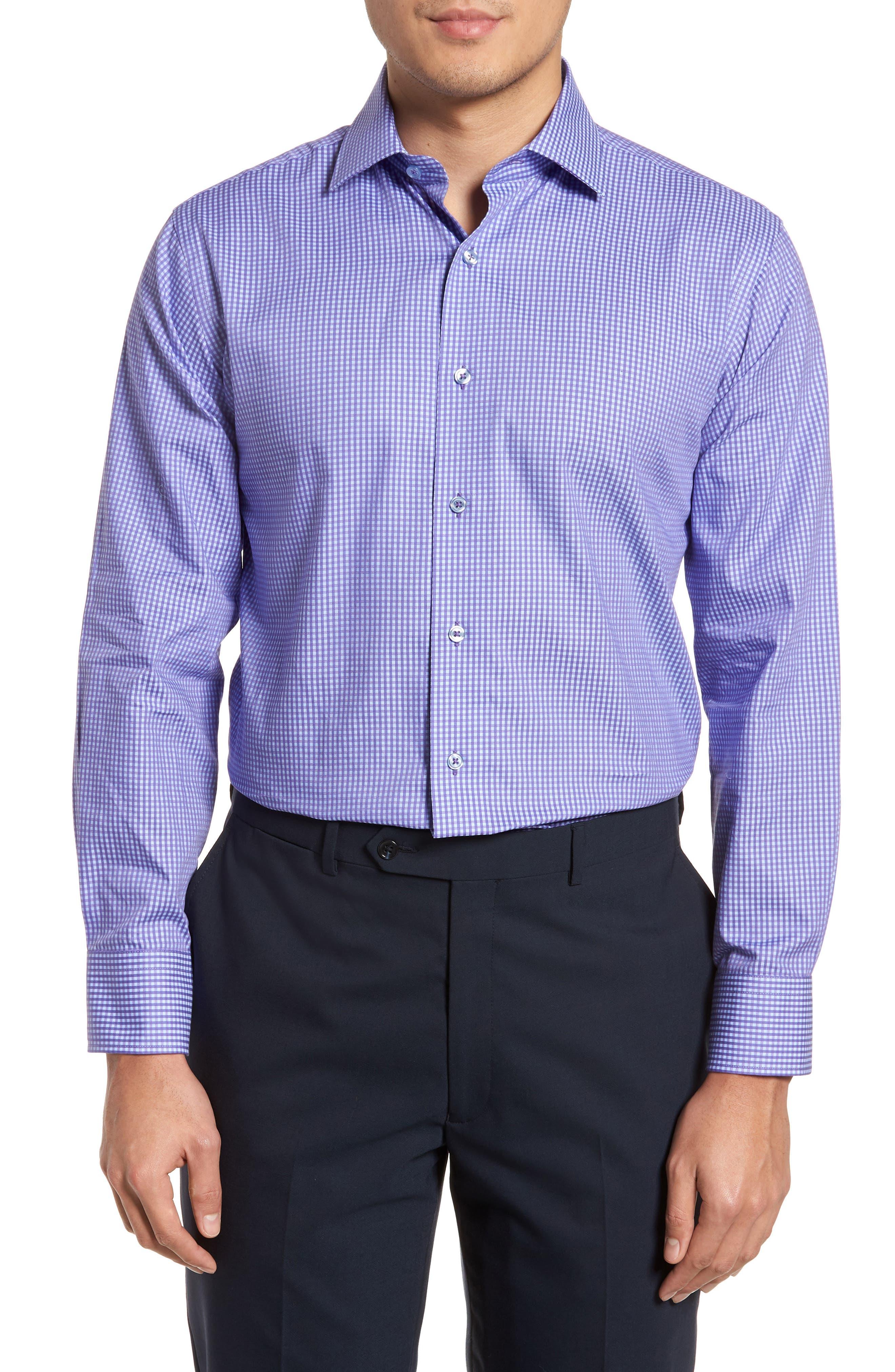 Trim Fit Mini Check Dress Shirt,                         Main,                         color, Purple