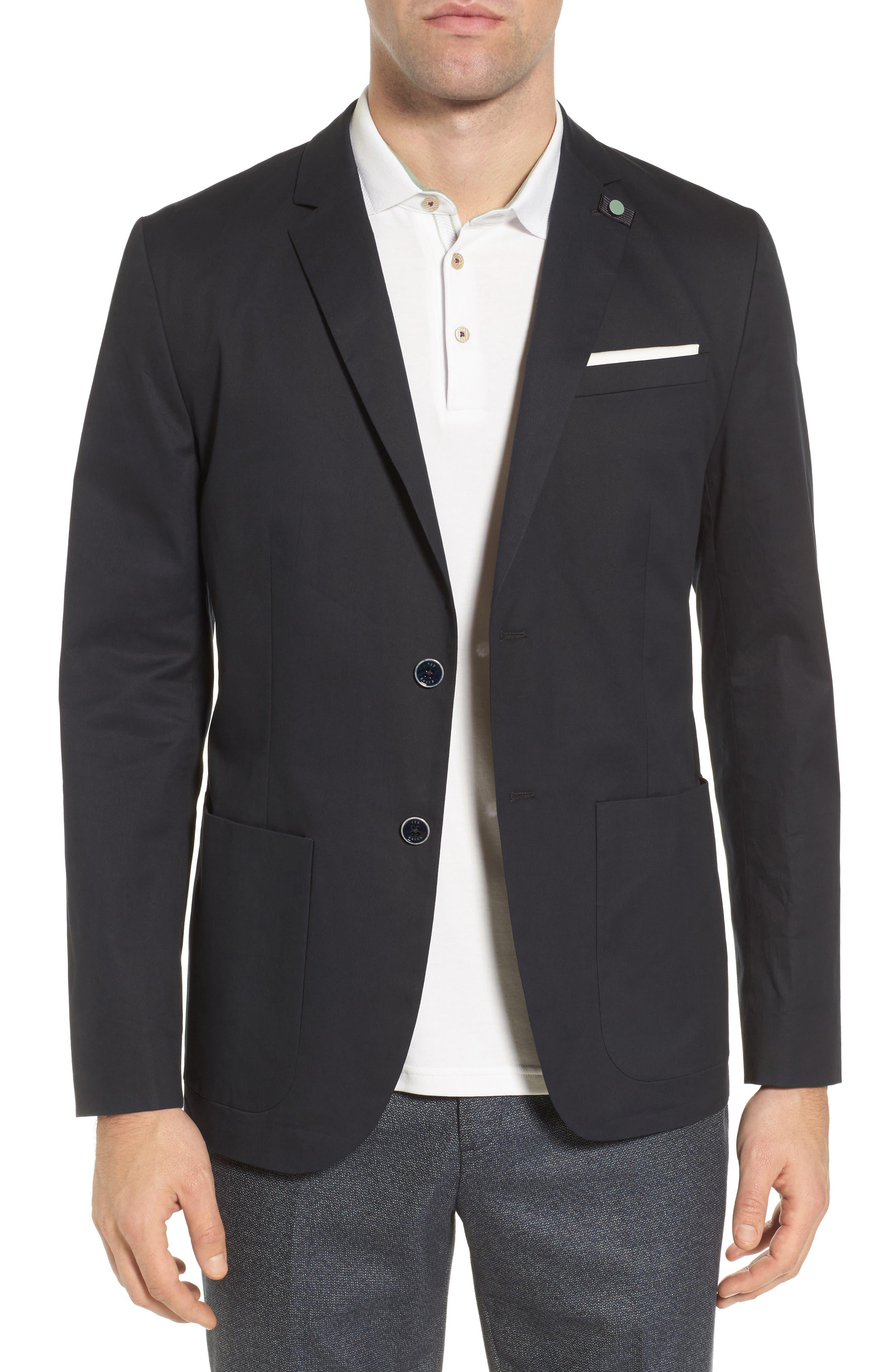 Clifott Trim Fit Stretch Cotton Blazer,                         Main,                         color, Navy