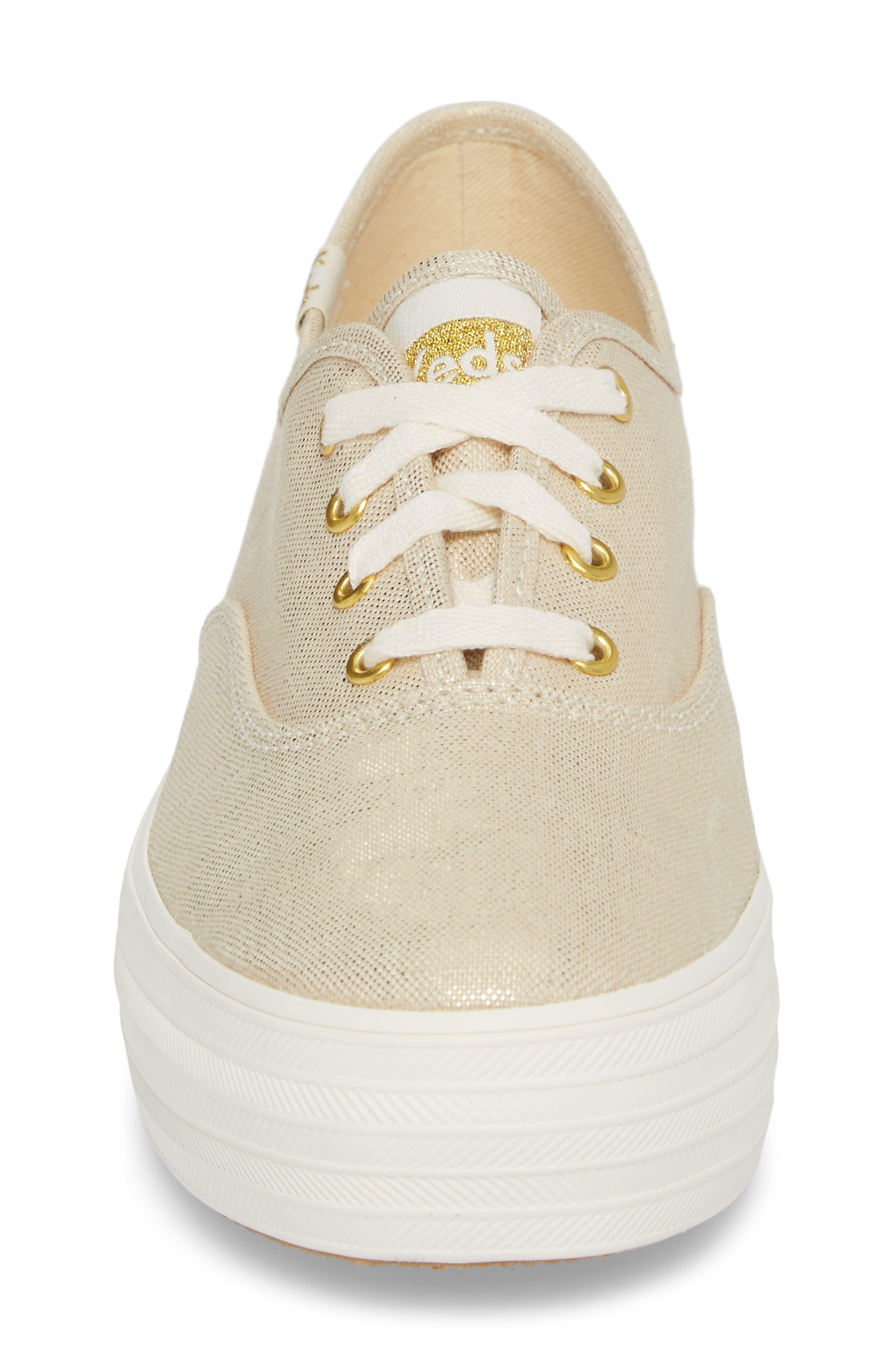 Triple Metallic Sneaker,                             Alternate thumbnail 4, color,                             Gold