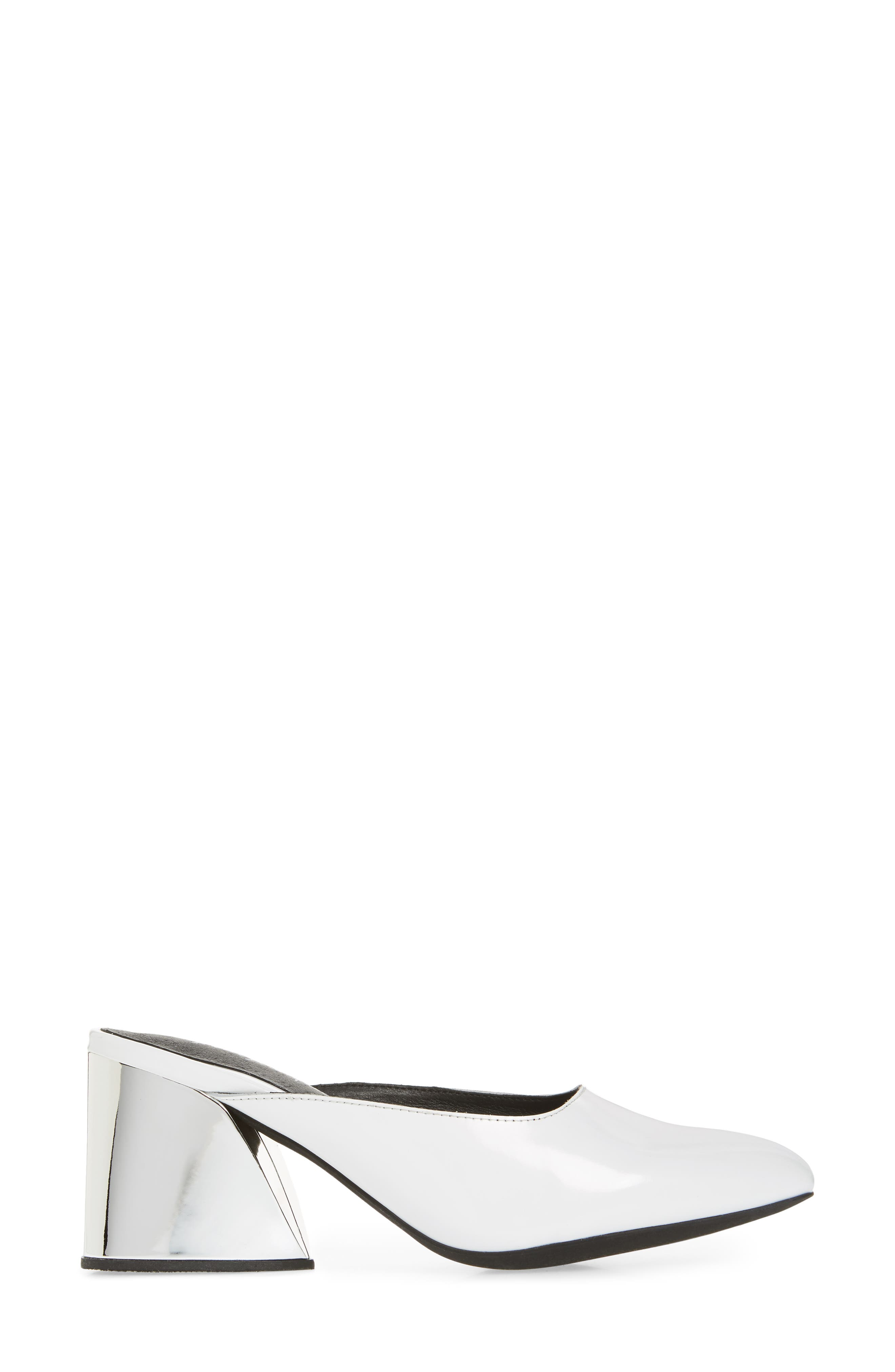 Lamer Flared Heel Mule,                             Alternate thumbnail 3, color,                             White/ Silver Leather