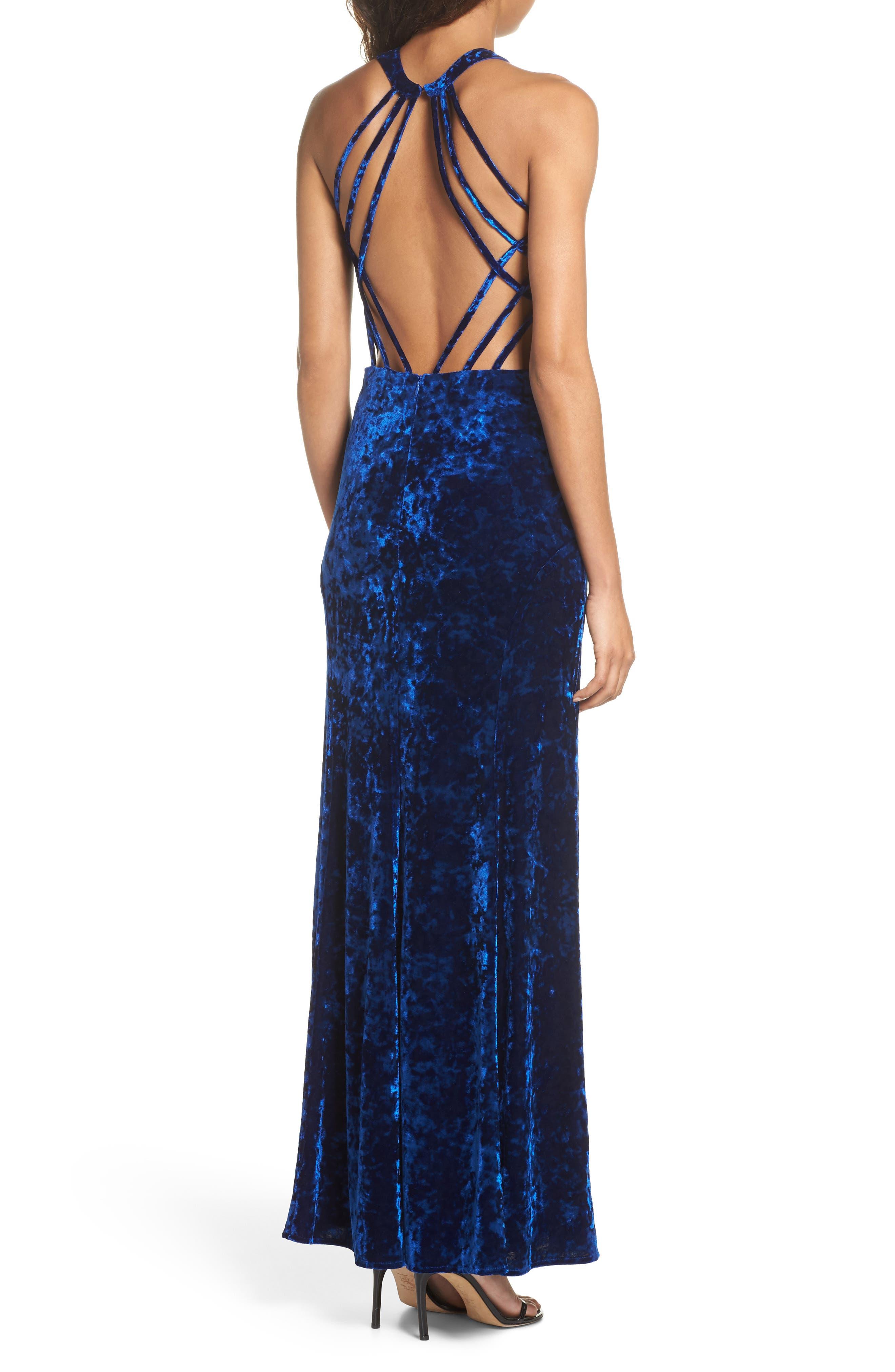 Cleo Strappy Back Velvet Gown,                             Alternate thumbnail 2, color,                             Sapphire