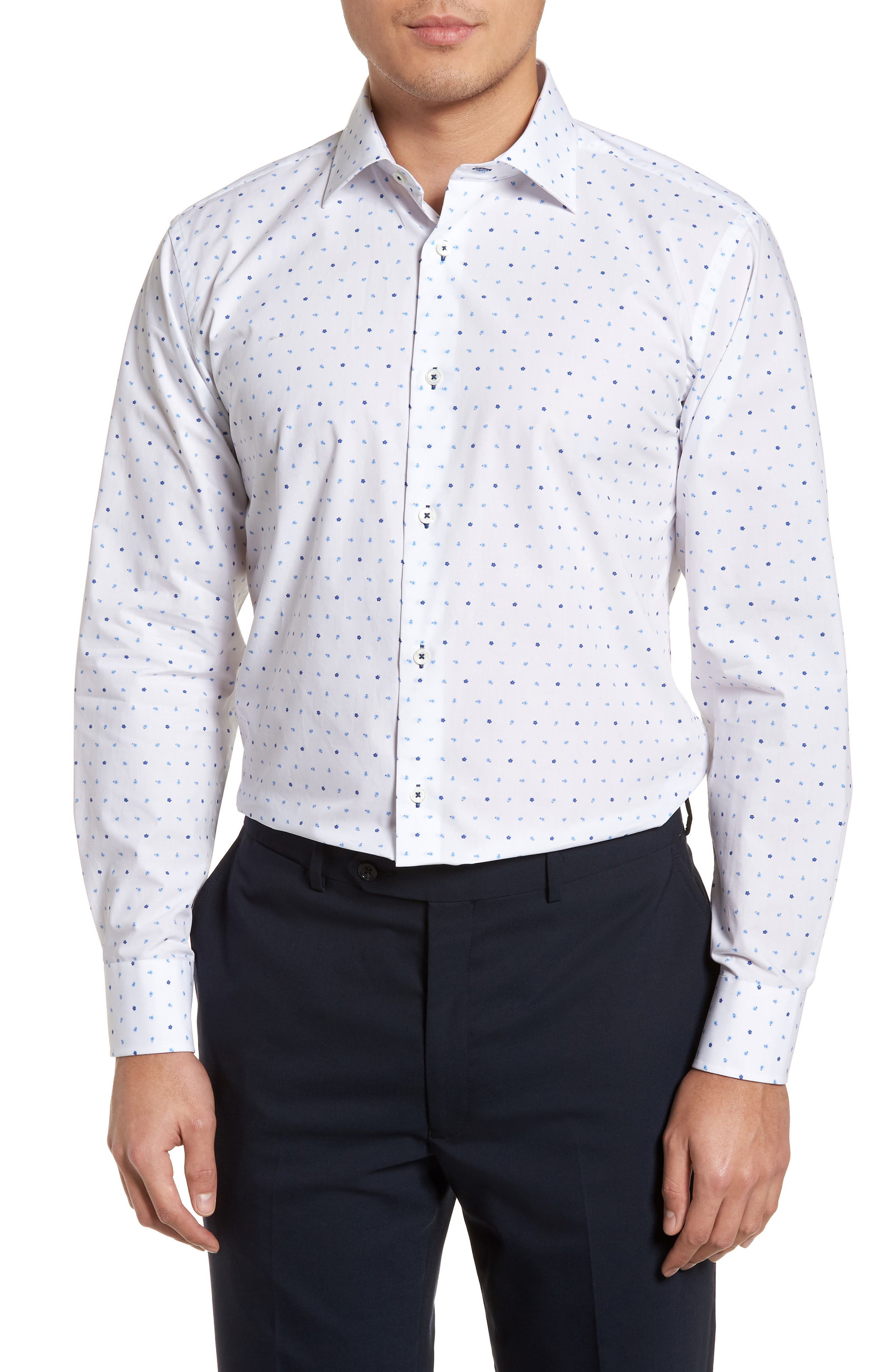 Trim Fit Print Dress Shirt,                         Main,                         color, Classic Blue/ White