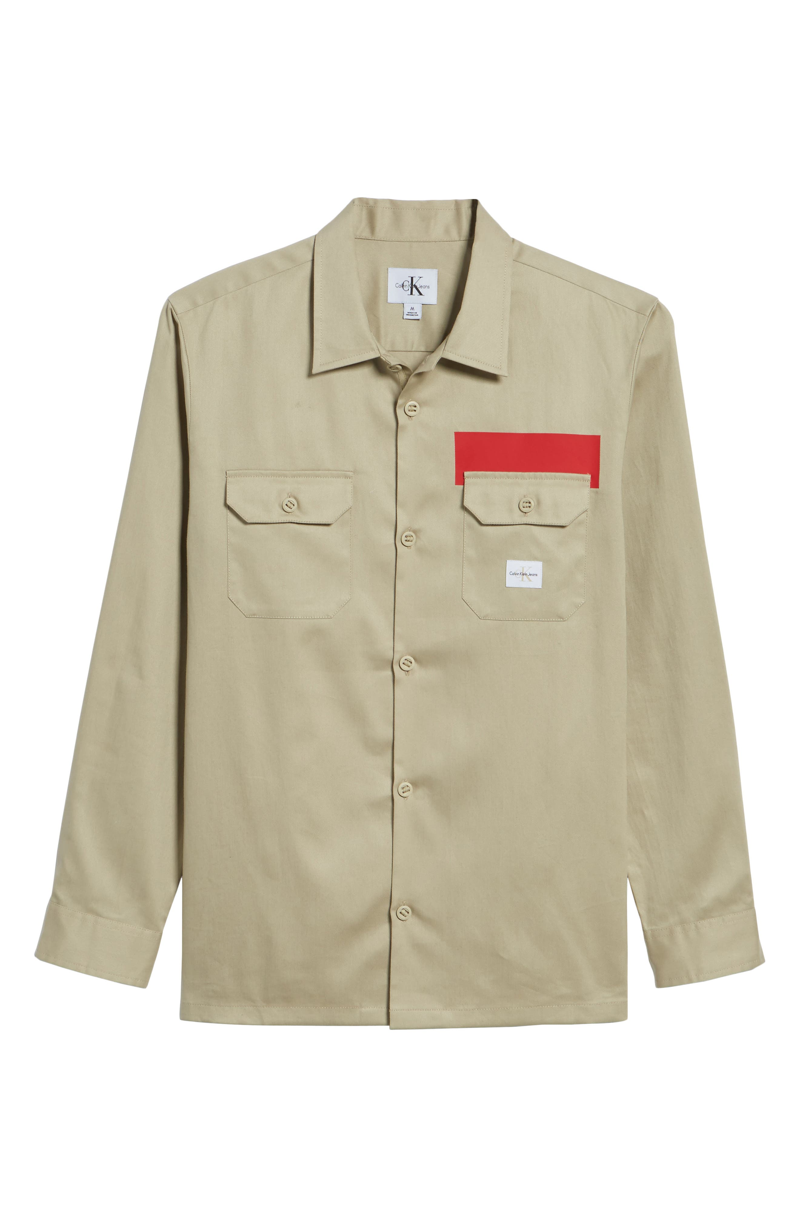 Placement Stripe Utility Shirt,                             Alternate thumbnail 5, color,                             Marble Canyon