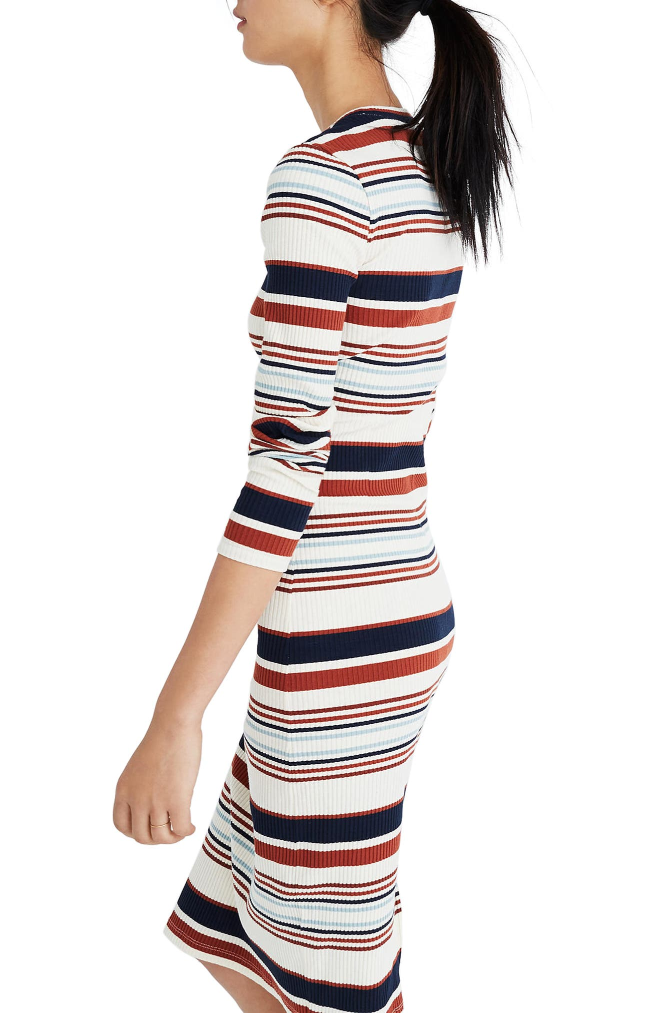 Multistripe Ribbed Long Sleeve Midi Dress,                             Alternate thumbnail 2, color,                             Antique Cream