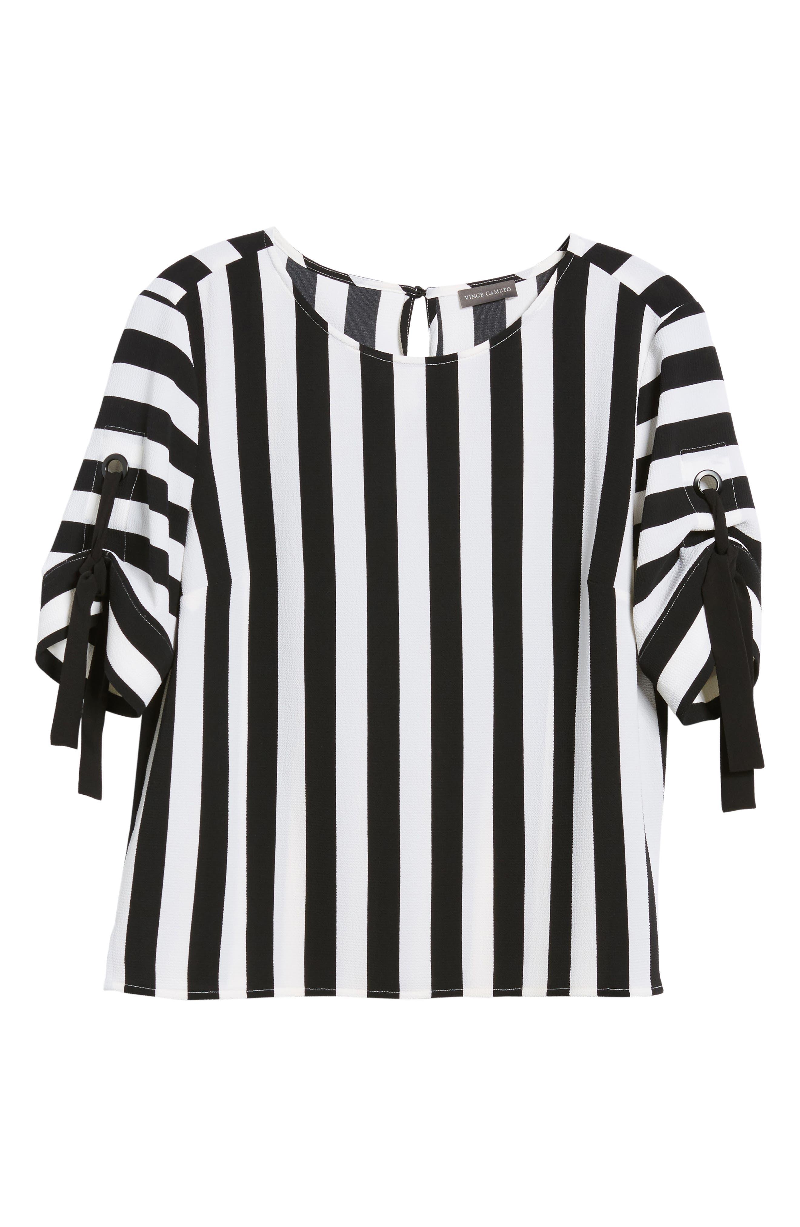 Spectator Stripe Tie Cuff Blouse,                             Alternate thumbnail 8, color,                             Rich Black