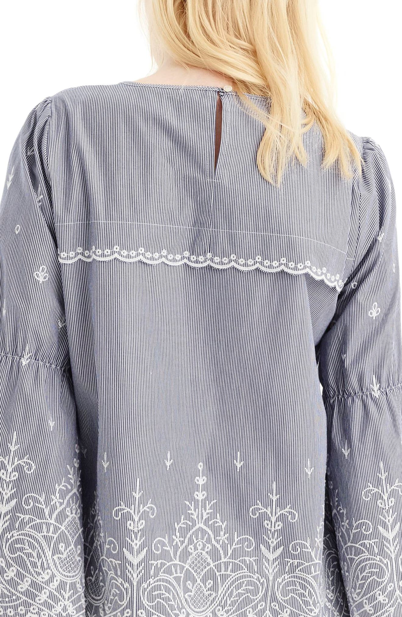 J.Crew Embroidered Stripe Poplin Bell Sleeve Blouse,                             Alternate thumbnail 2, color,                             Dark Ink
