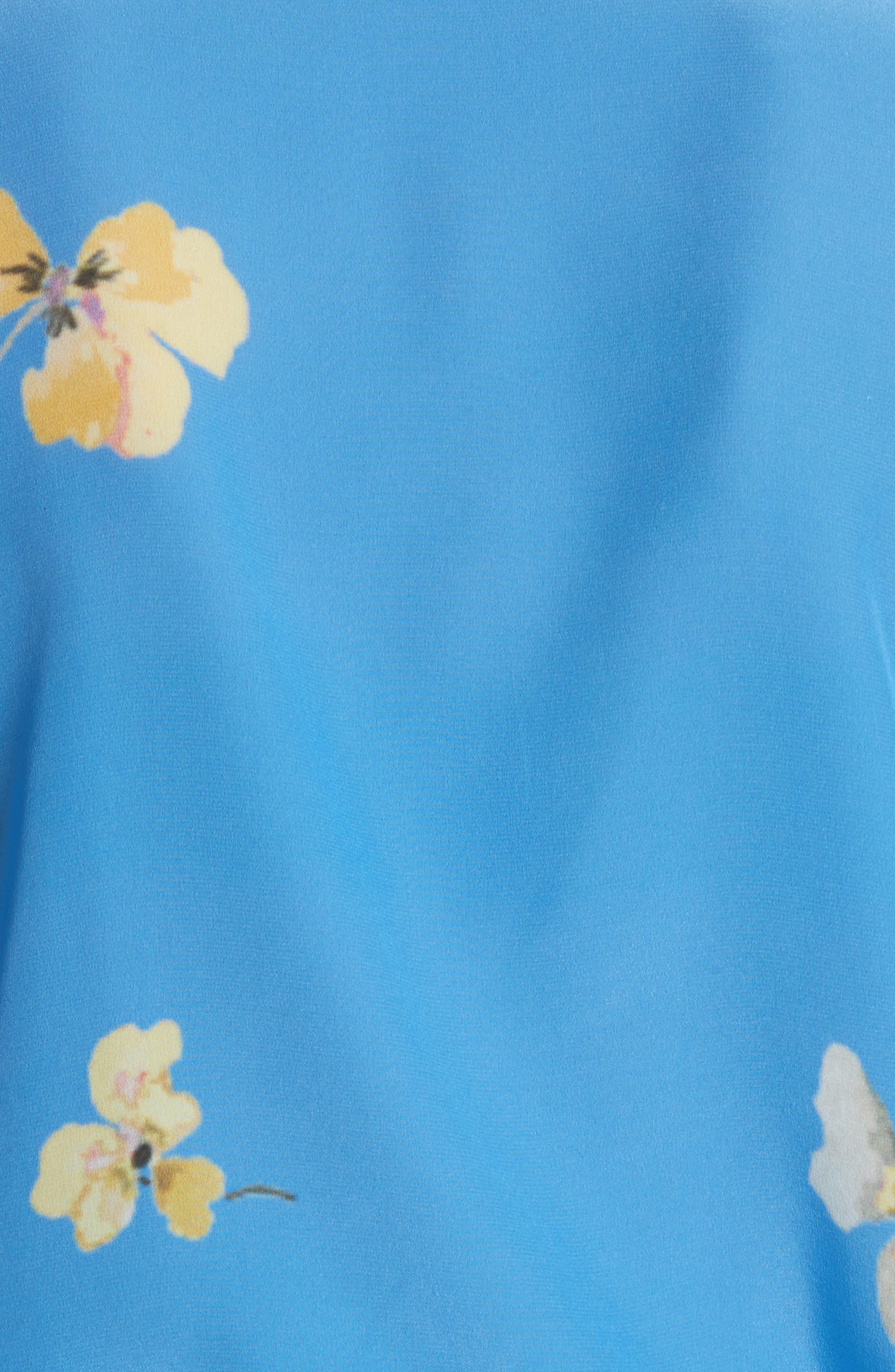 Joycedale Floral Silk Shirt,                             Alternate thumbnail 5, color,                             Marina