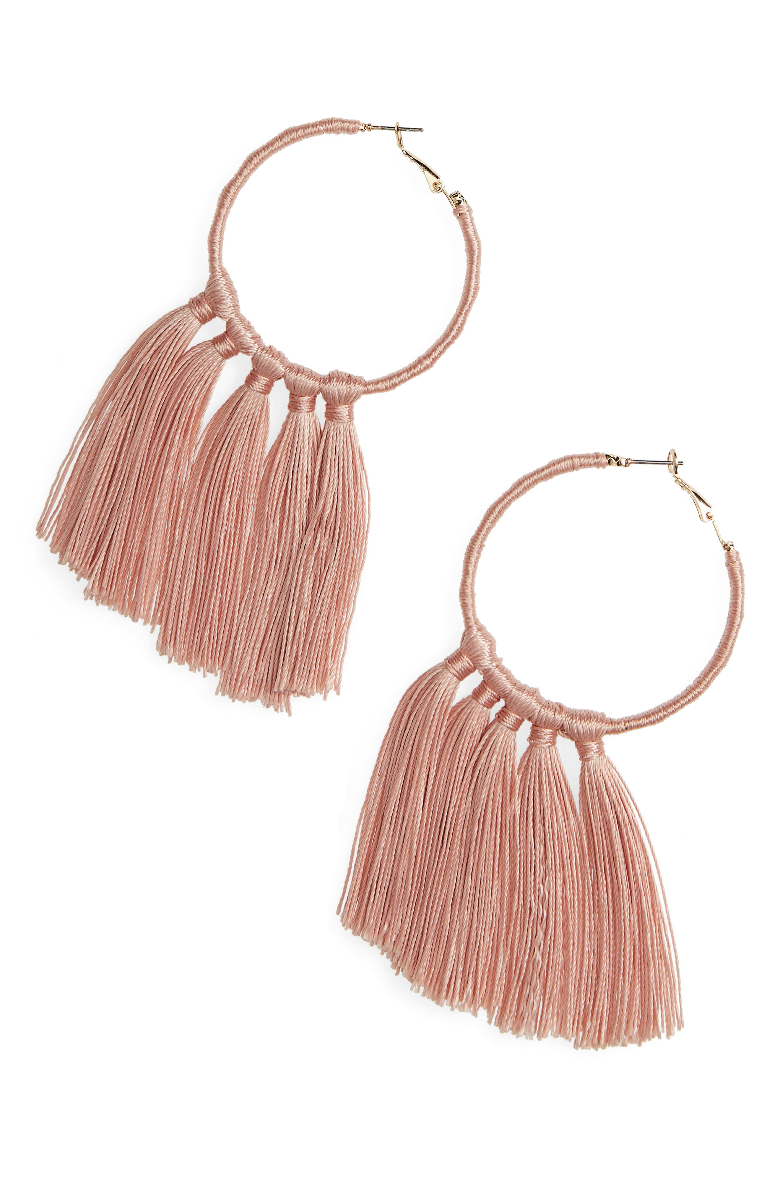 BP. Wrapped Tassel Hoop Earrings