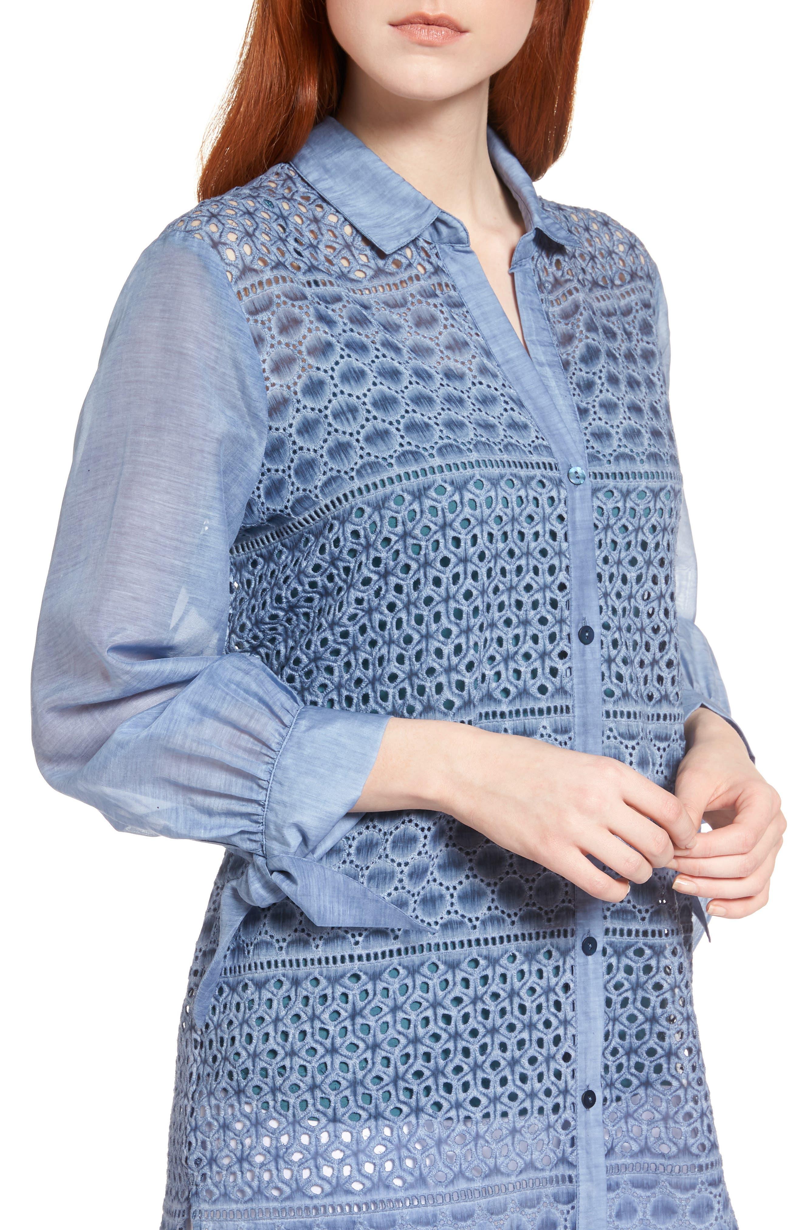 Mosaic Lace Cotton Silk Blouse,                             Alternate thumbnail 4, color,                             Mosaic Blue