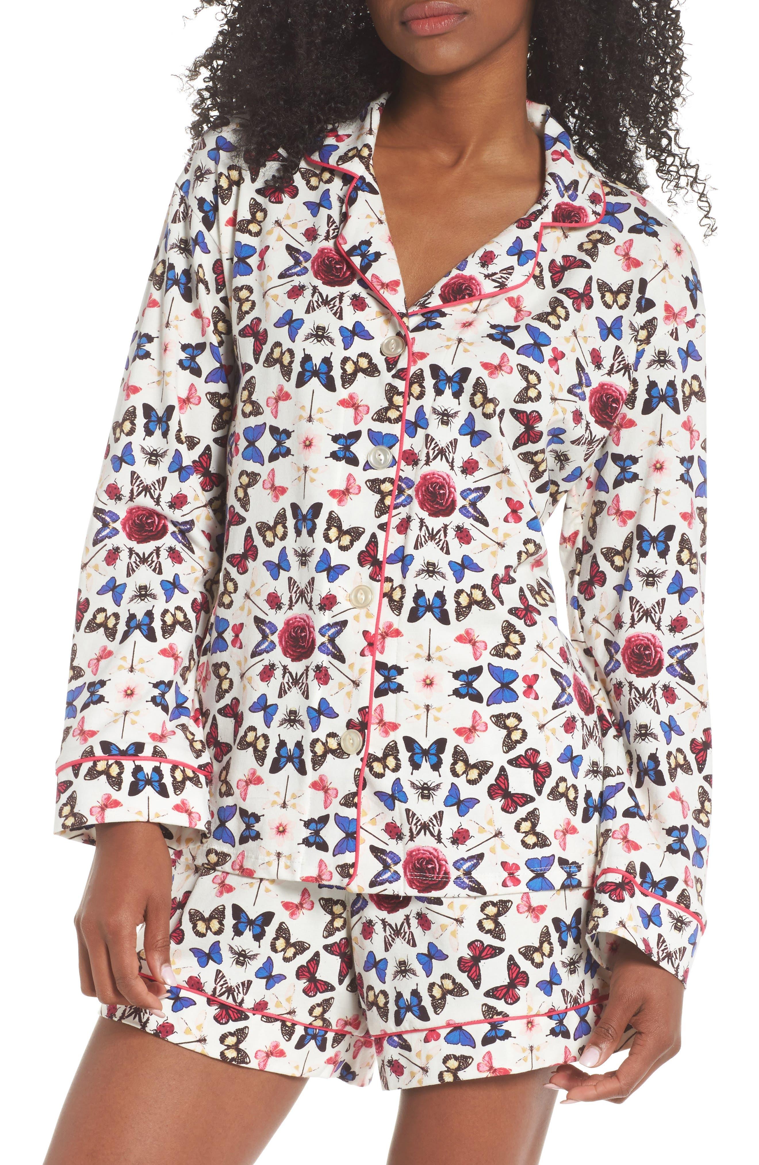 Rouge Short Pajamas,                             Main thumbnail 1, color,                             Butterfly Print