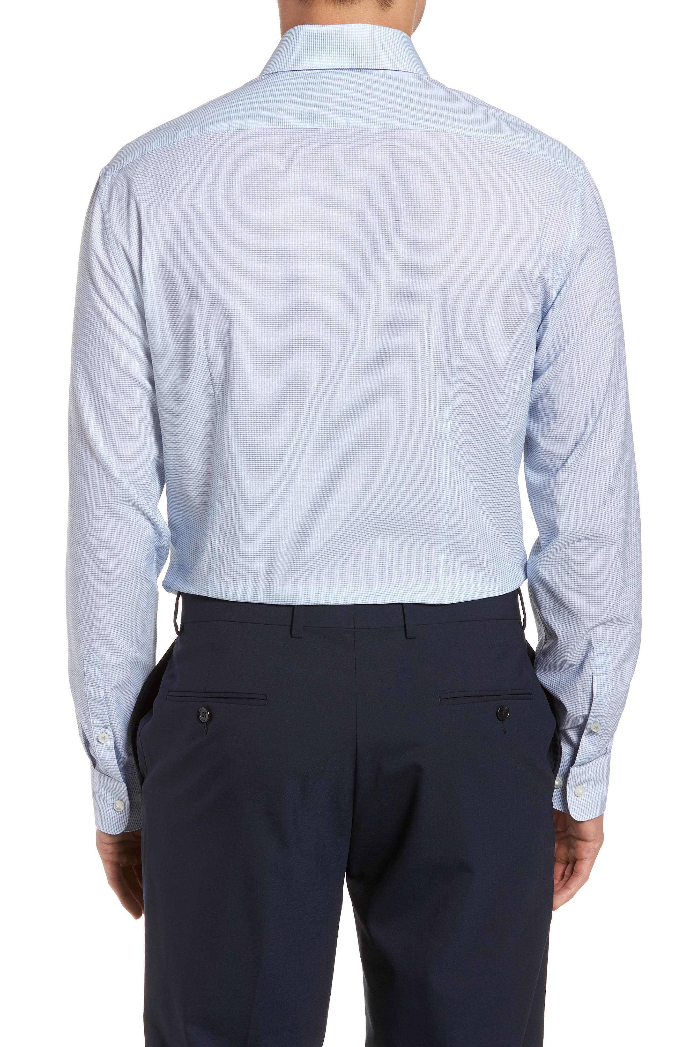 Slim Fit Stretch Microcheck Dress Shirt,                             Alternate thumbnail 3, color,                             Icicle Blue