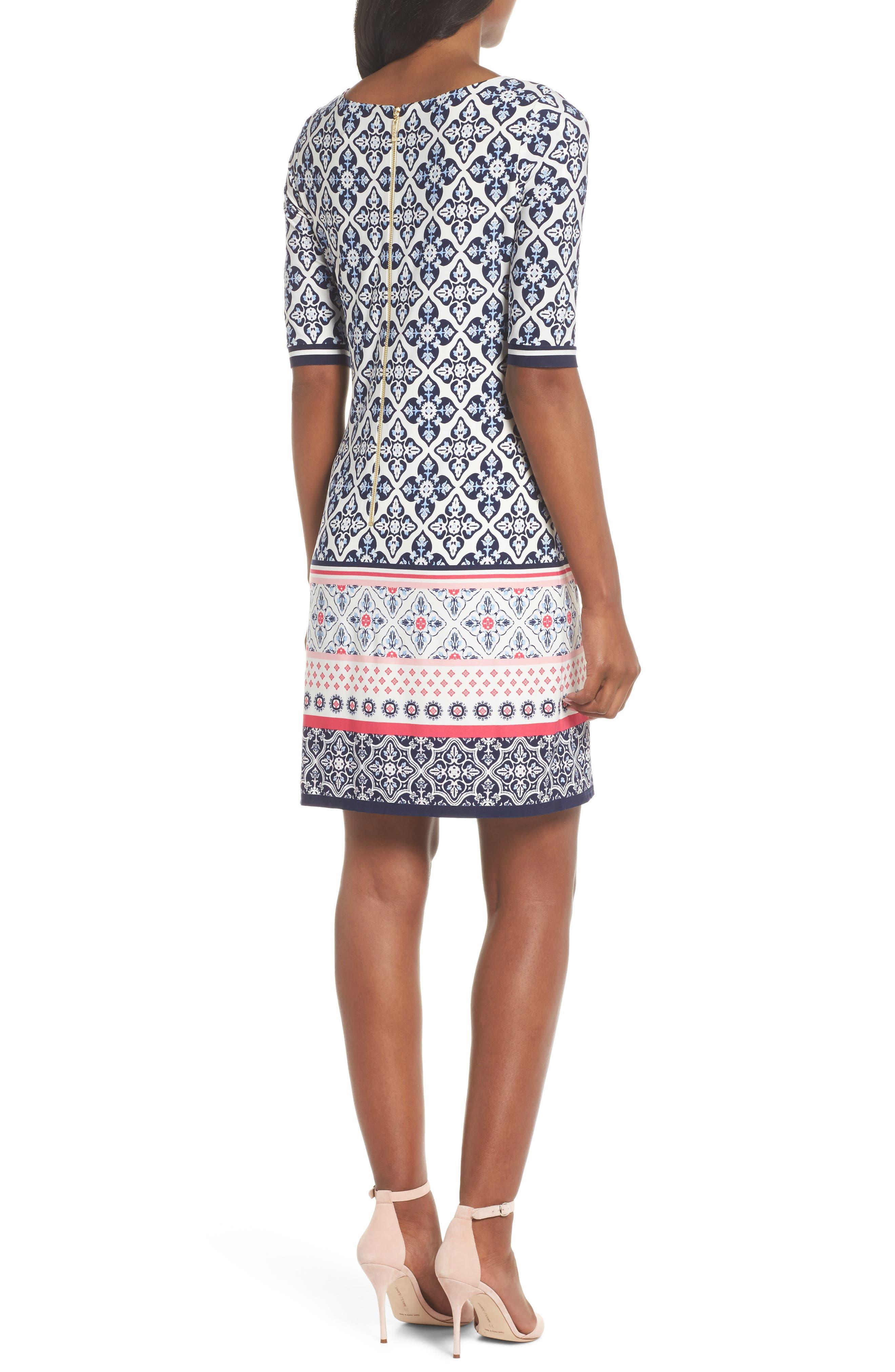 Print Sheath Dress,                             Alternate thumbnail 2, color,                             Black/ Pink