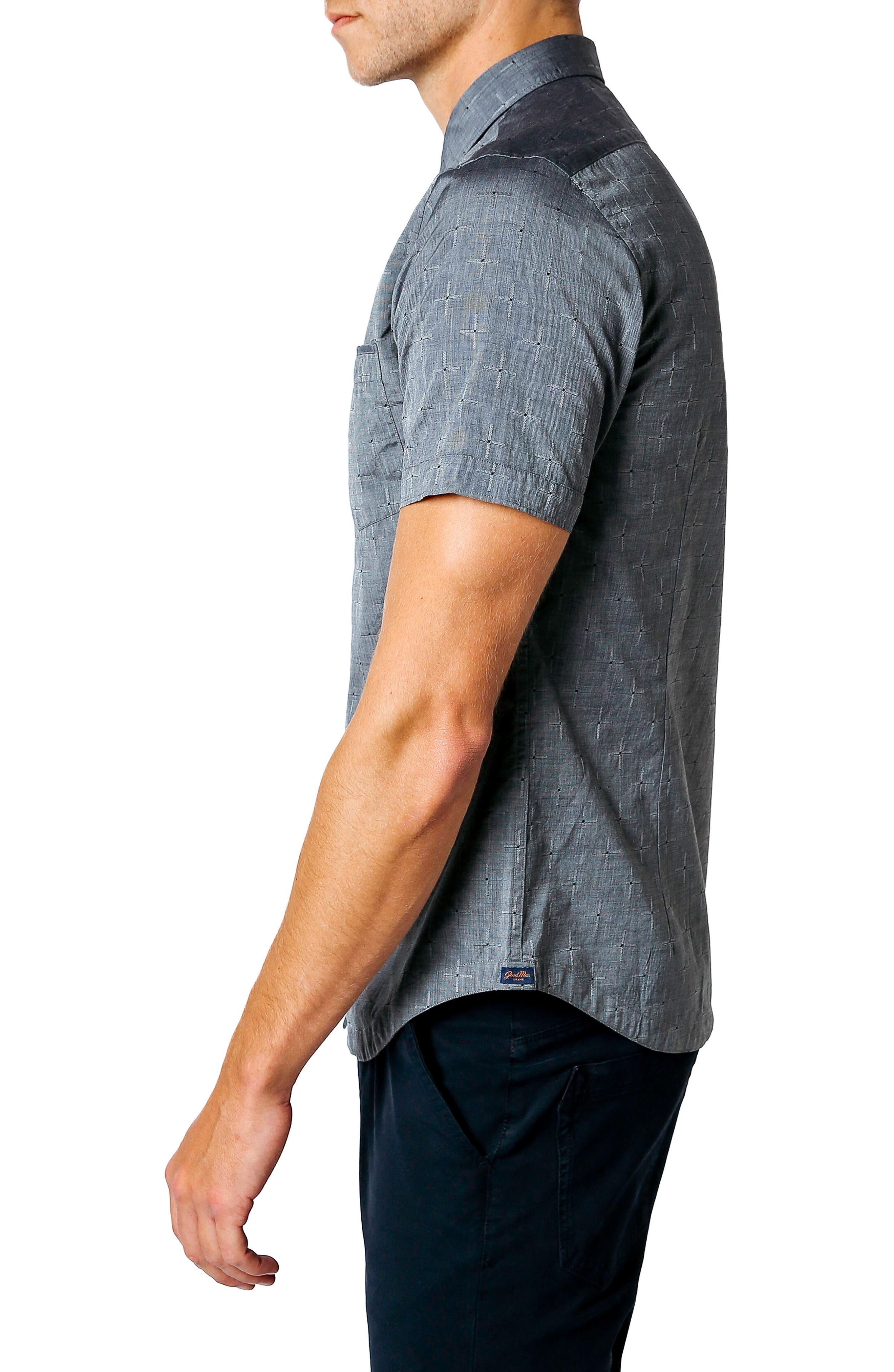 Trim Fit Geometric Short Sleeve Sport Shirt,                             Alternate thumbnail 3, color,                             Black