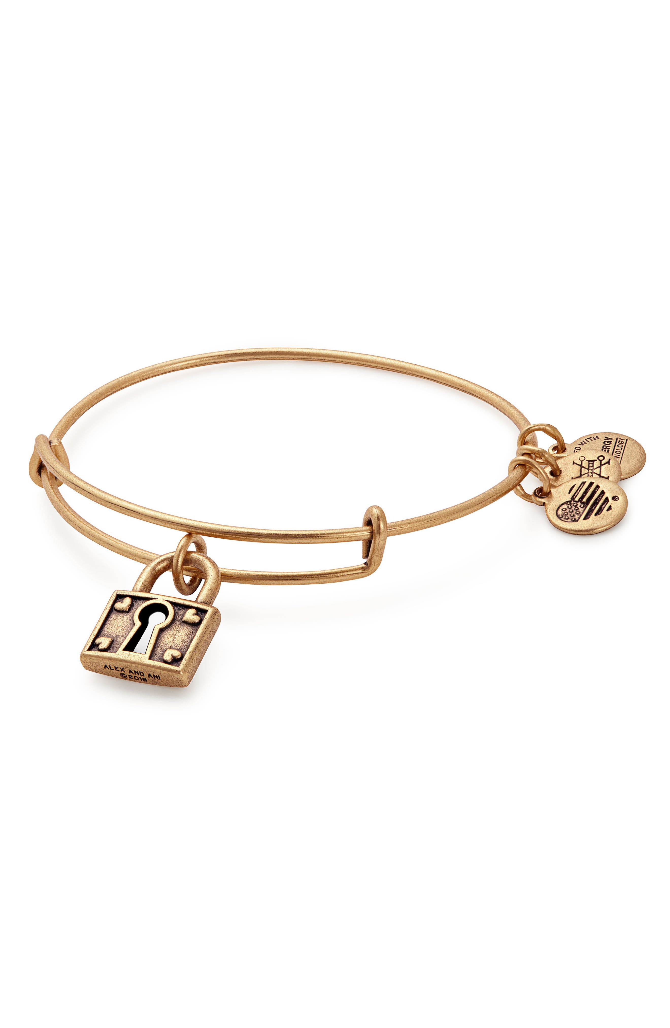Unbreakable Love Adjustable Wire Bangle,                             Main thumbnail 1, color,                             Gold