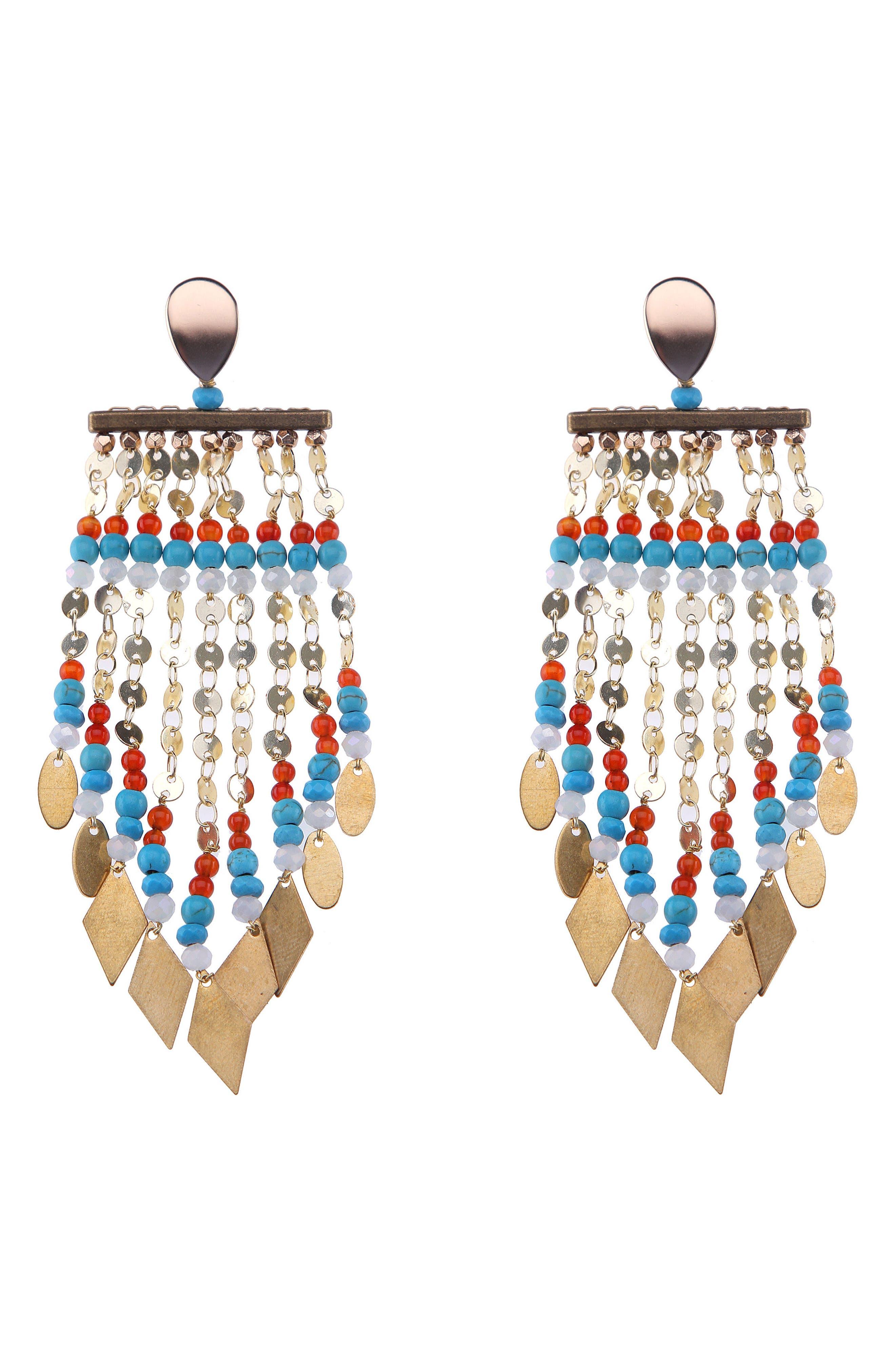 Long Beaded Metal Fringe Earrings,                             Main thumbnail 1, color,                             Turquoise