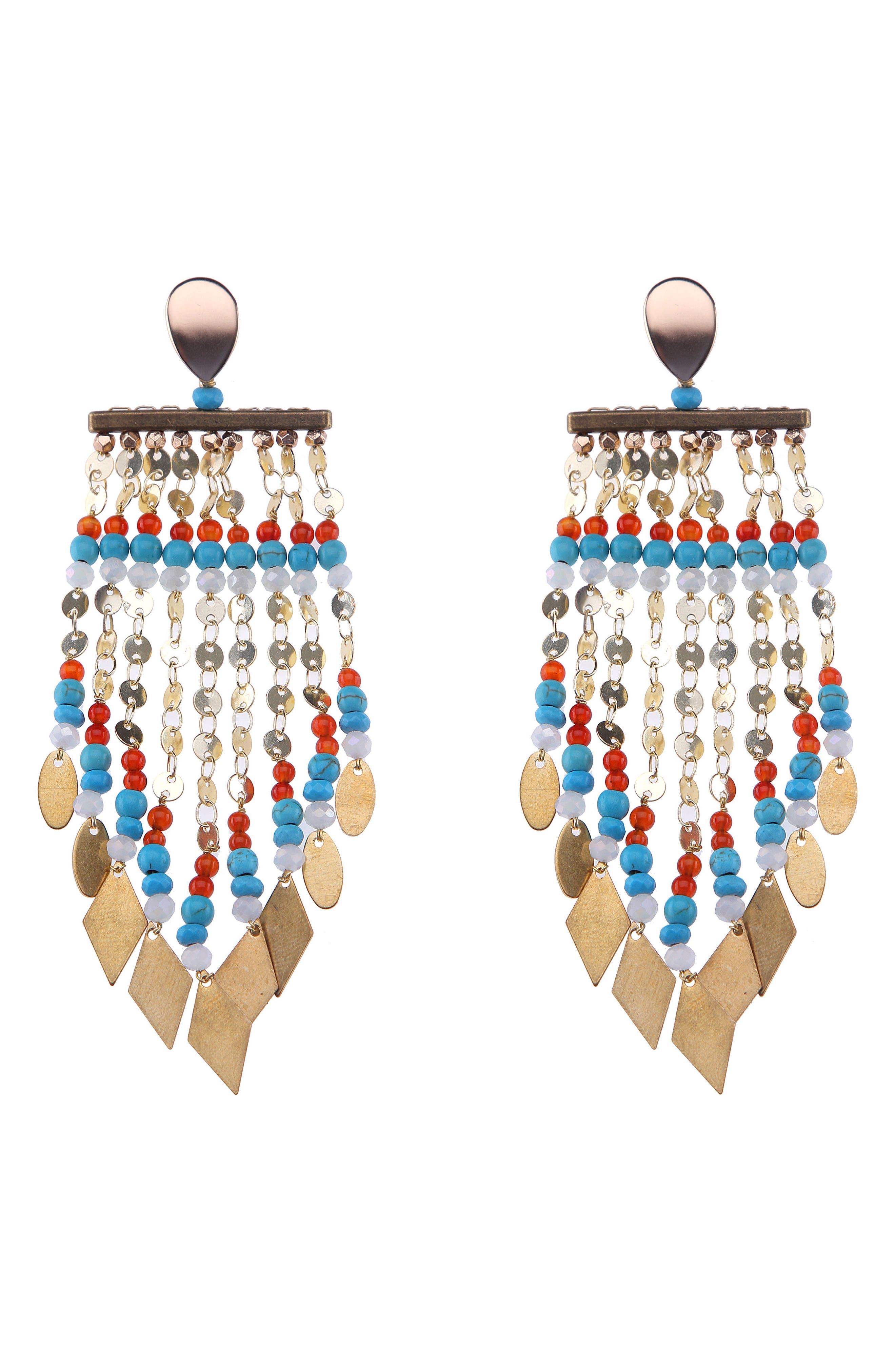 Long Beaded Metal Fringe Earrings,                         Main,                         color, Turquoise