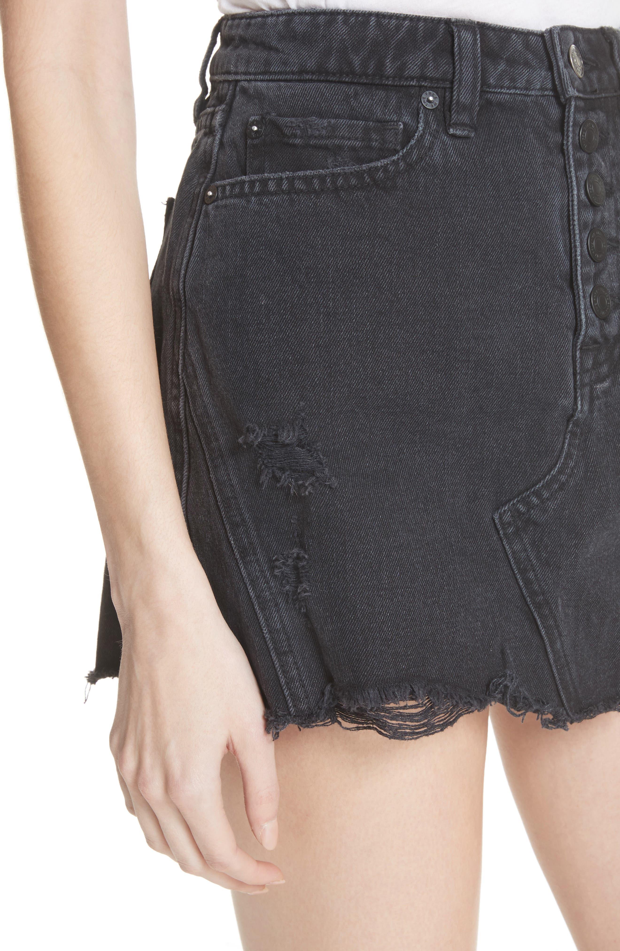 Denim A-Line Skirt,                             Alternate thumbnail 4, color,                             Black
