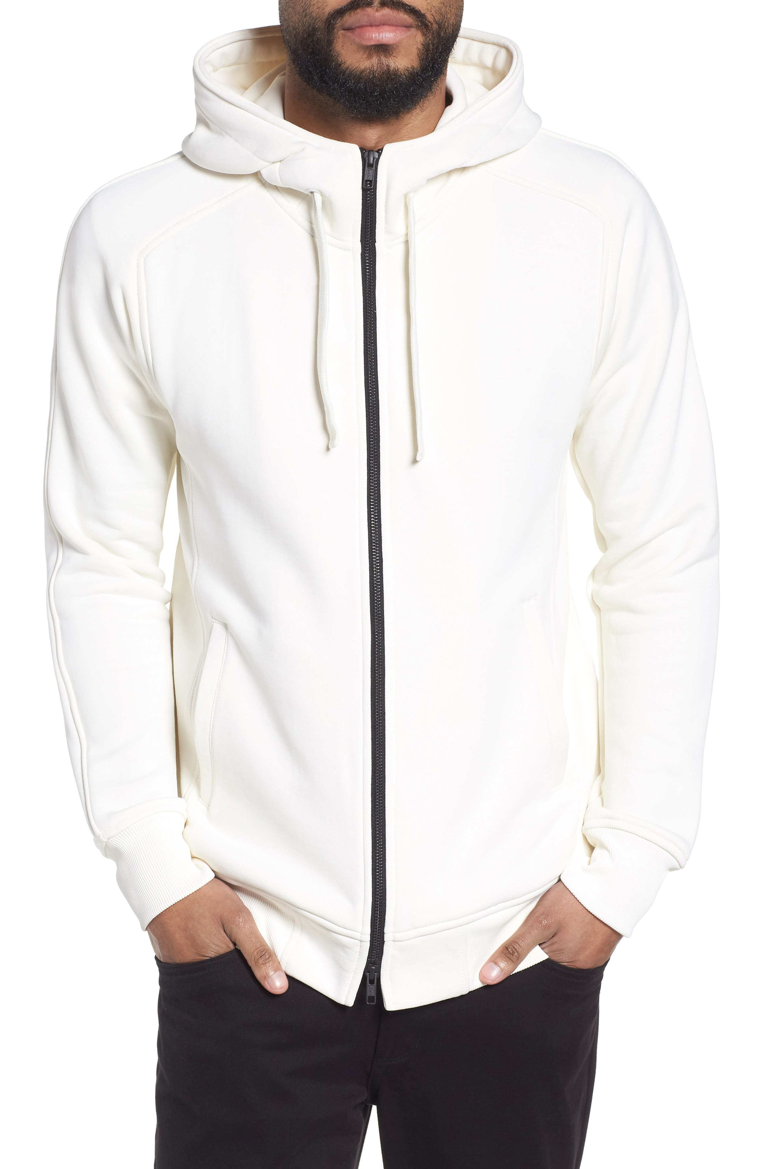 The Lux Full Zip Hoodie,                         Main,                         color, Creme