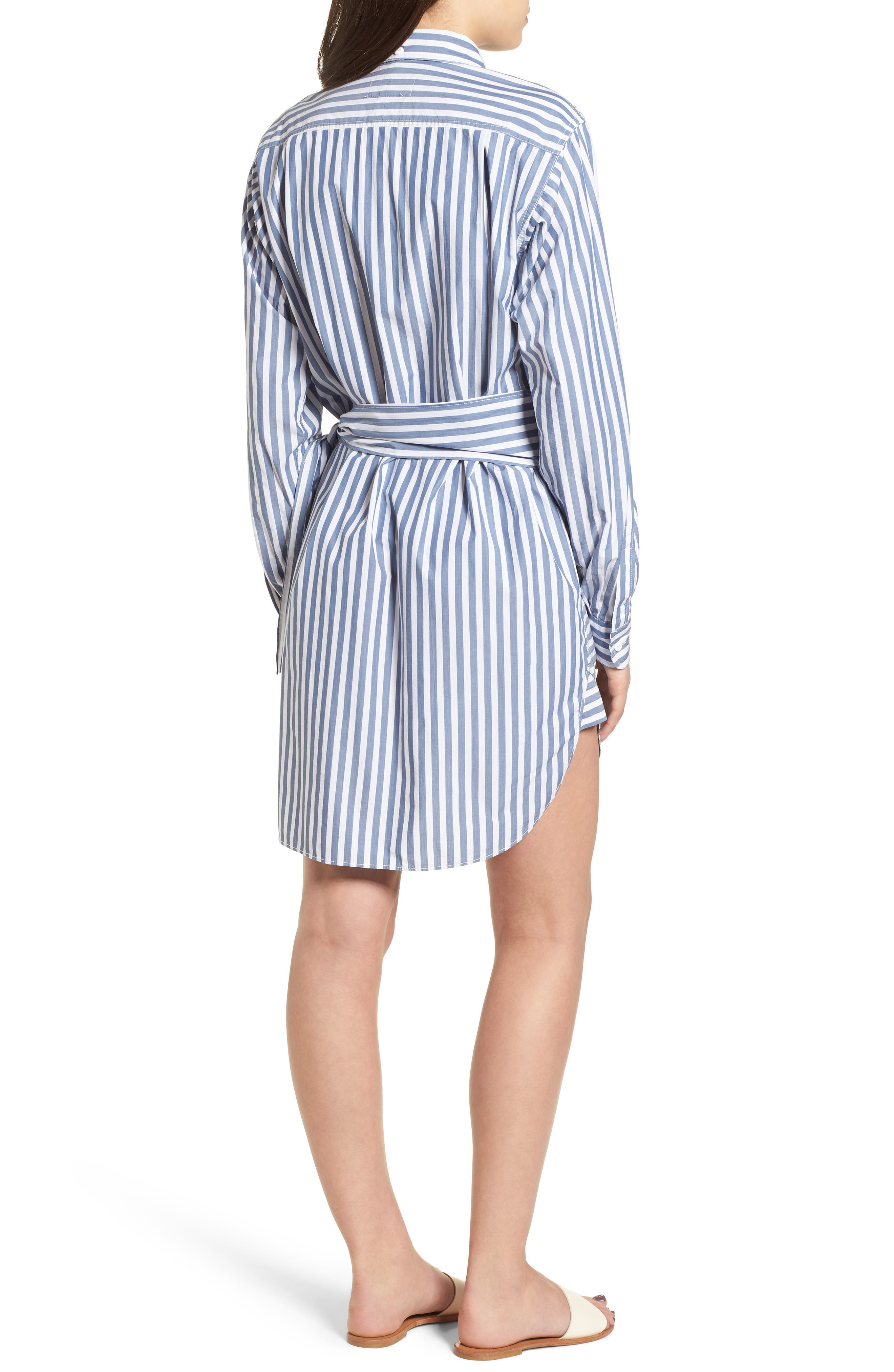 The Alda Stripe Belted Shirtdress,                             Alternate thumbnail 2, color,                             Blue Lagoon Stripe