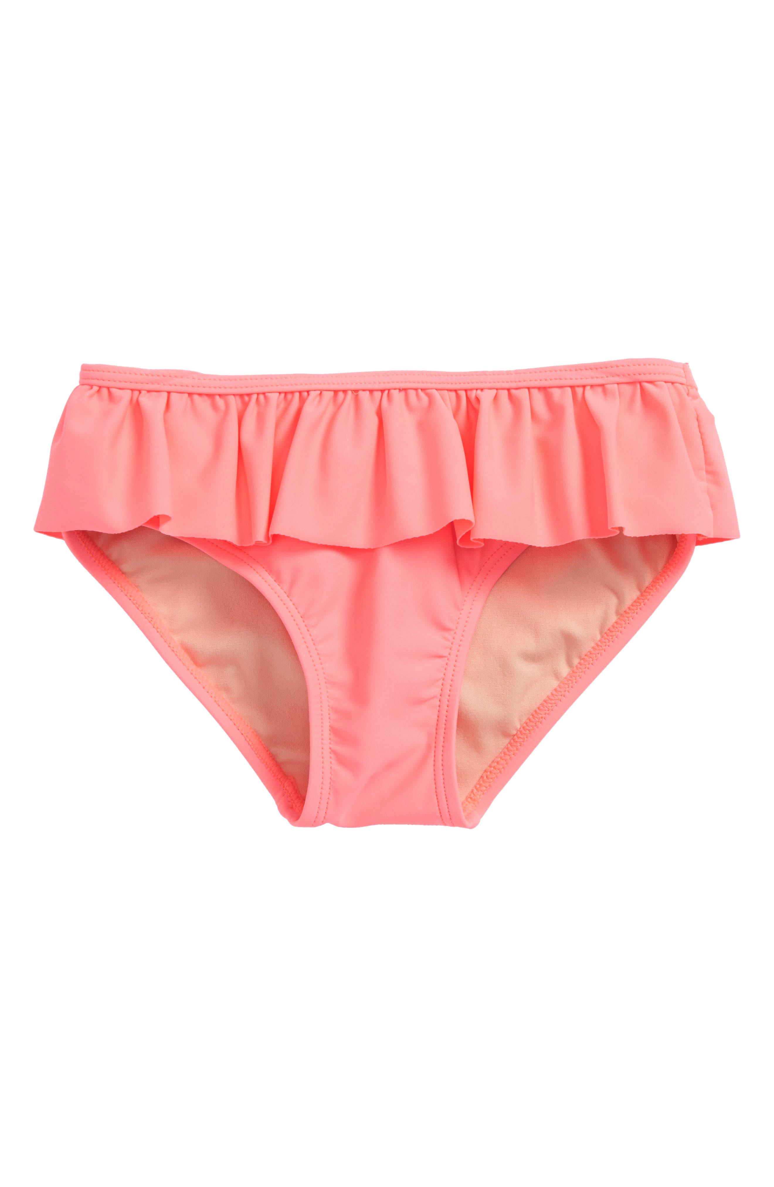 Solid Ruffle Bikini Bottoms,                             Main thumbnail 1, color,                             Parasol Pink