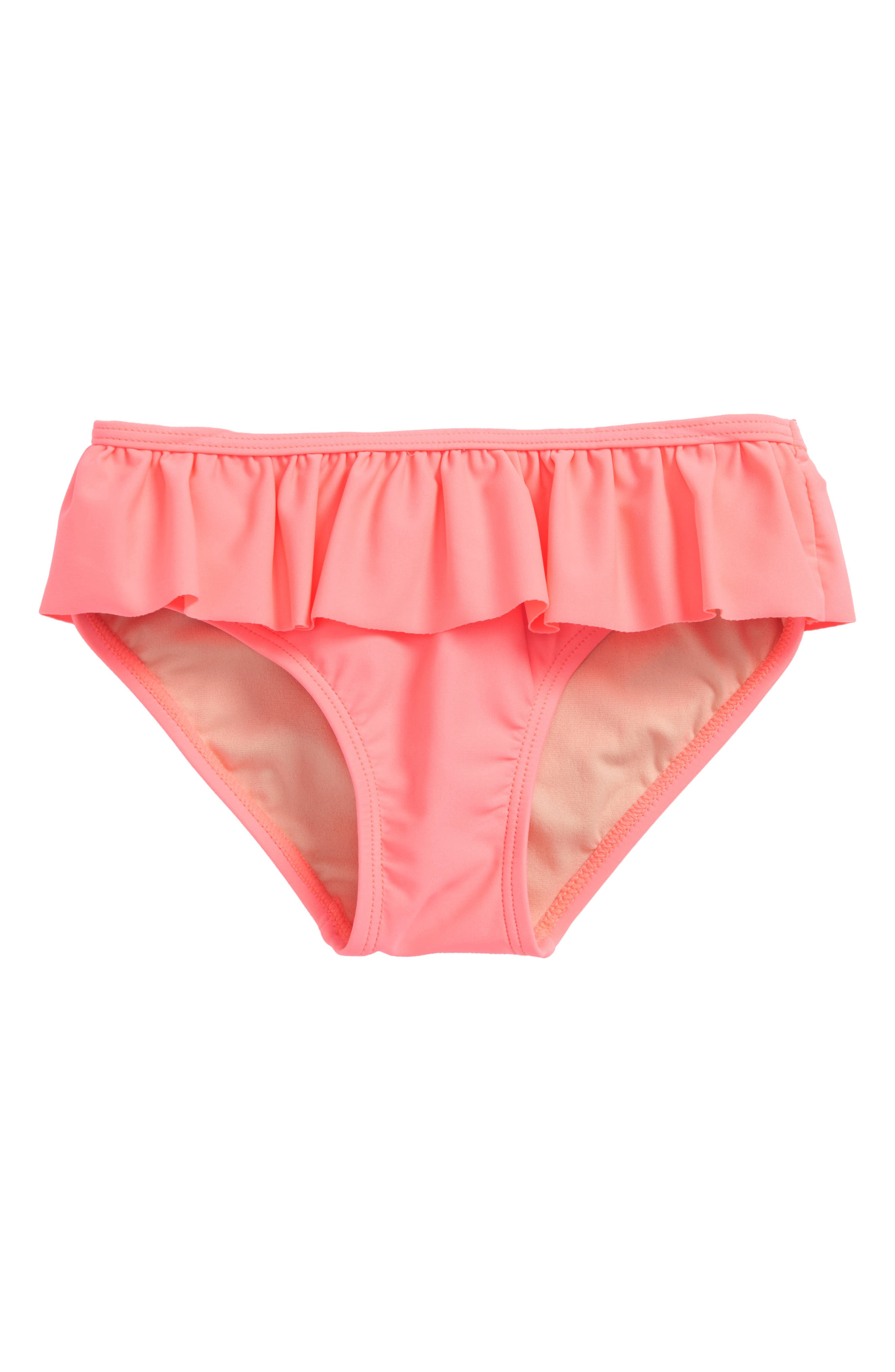 Solid Ruffle Bikini Bottoms,                         Main,                         color, Parasol Pink