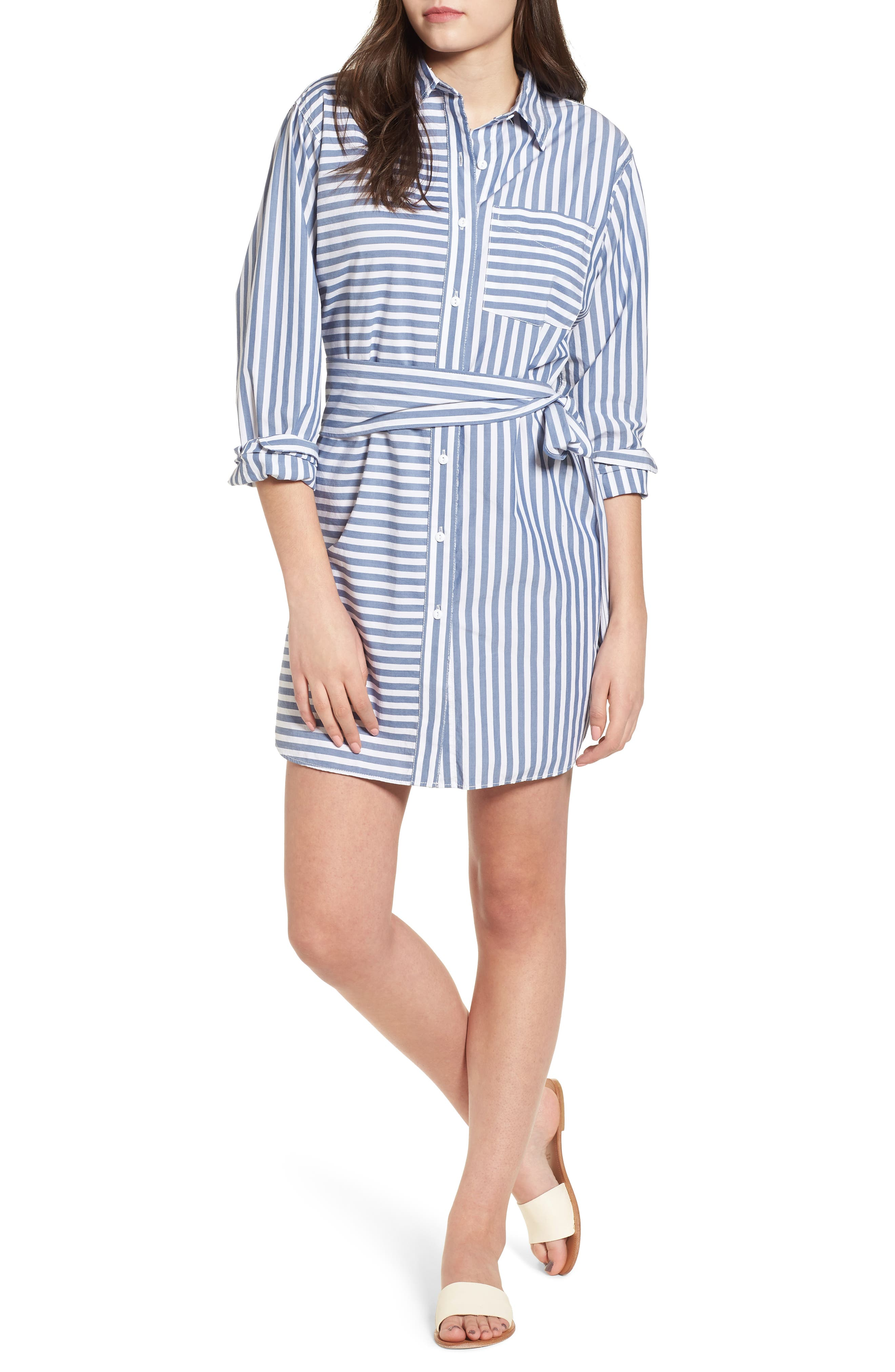 The Alda Stripe Belted Shirtdress,                             Main thumbnail 1, color,                             Blue Lagoon Stripe