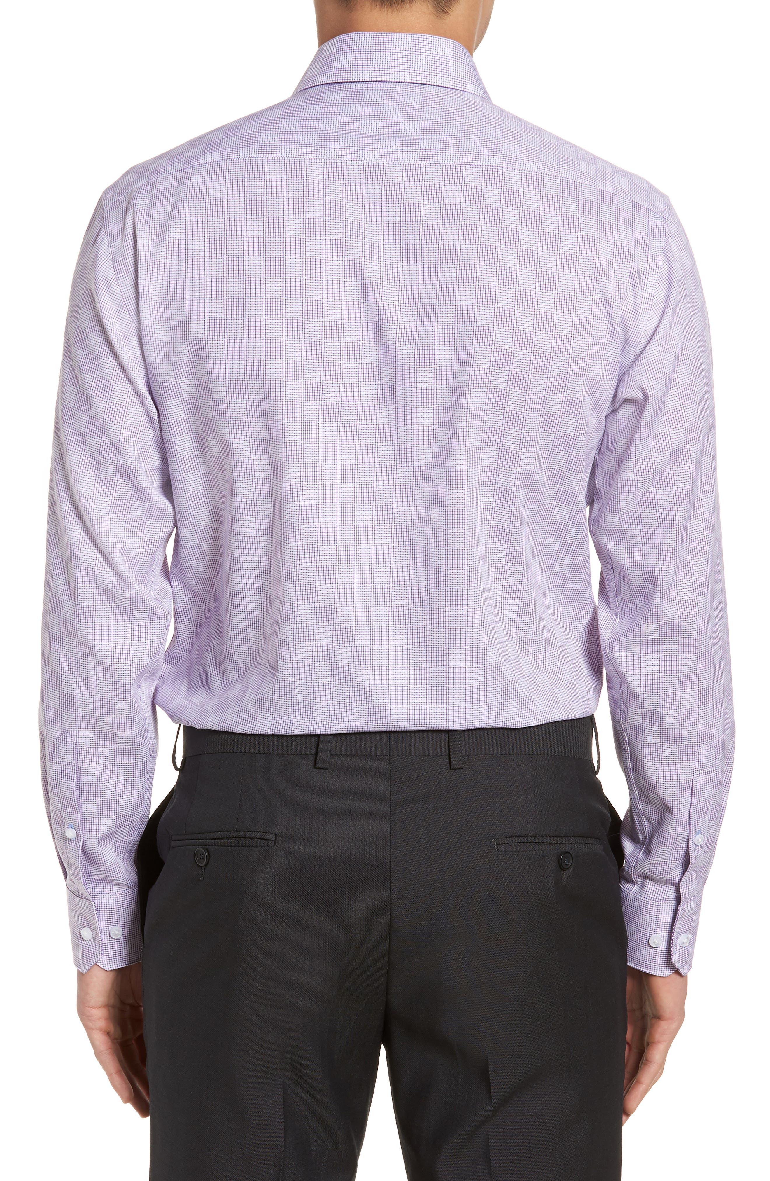 Haper Trim Fit Plaid Dress Shirt,                             Alternate thumbnail 3, color,                             Purple