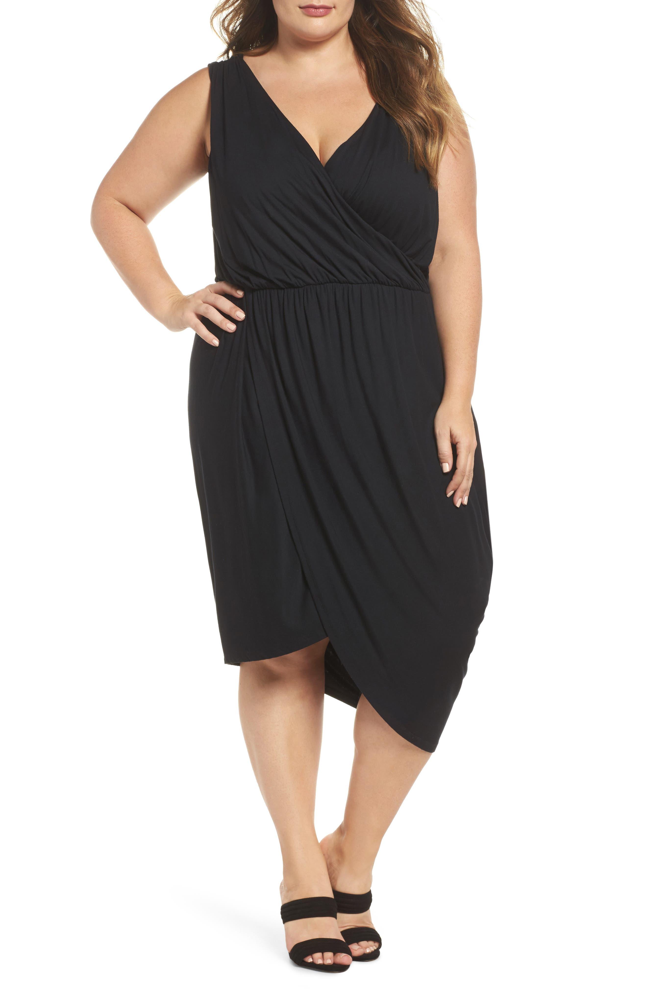 Drape Surplice Jersey Midi Dress,                         Main,                         color, Black