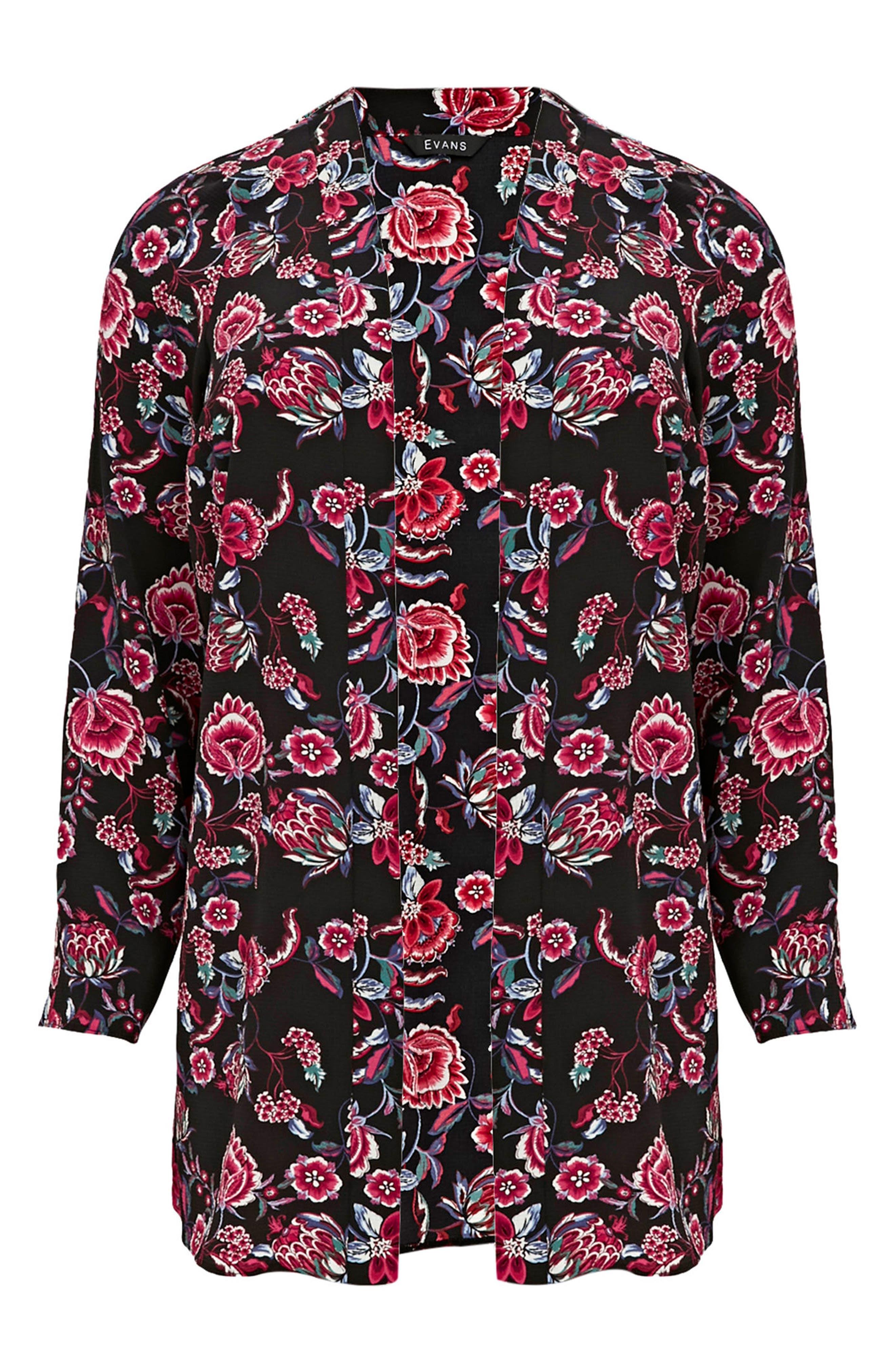 Floral Kimono Jacket,                             Alternate thumbnail 3, color,                             Dark Multi
