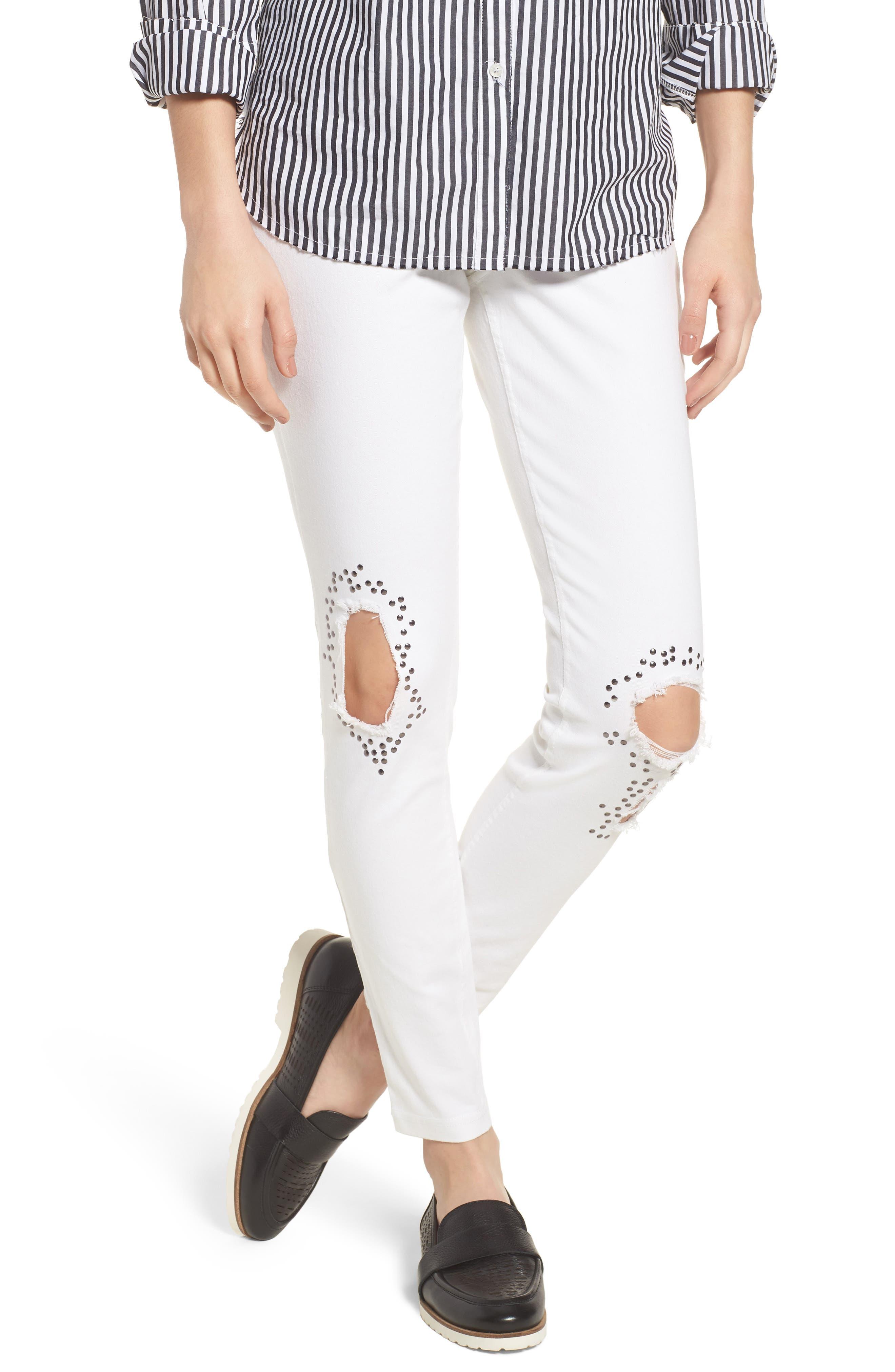 Ripped Denim Leggings,                         Main,                         color, White