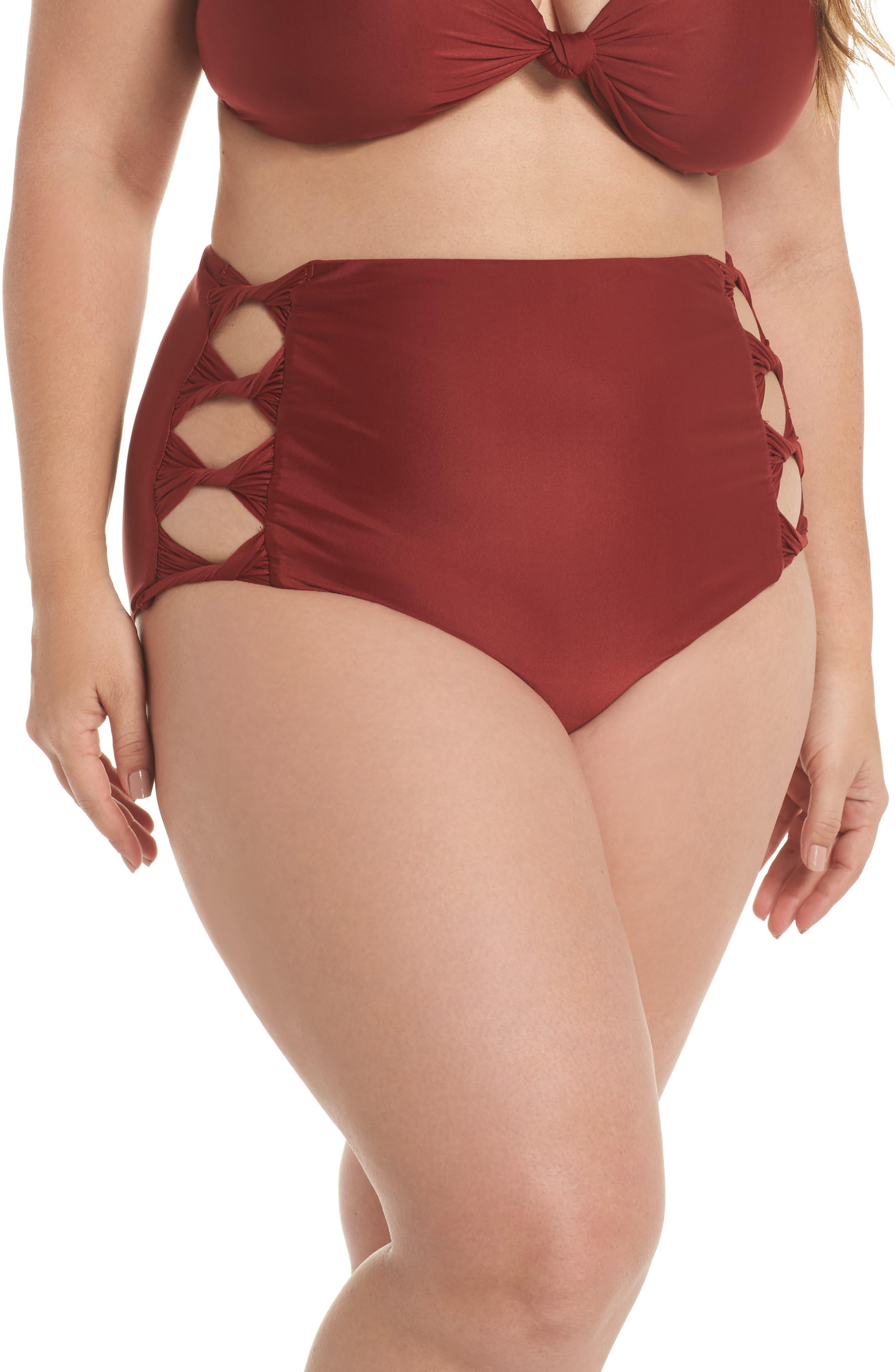 BCA Love Letters High Waist Bikini Bottoms (Plus Size)