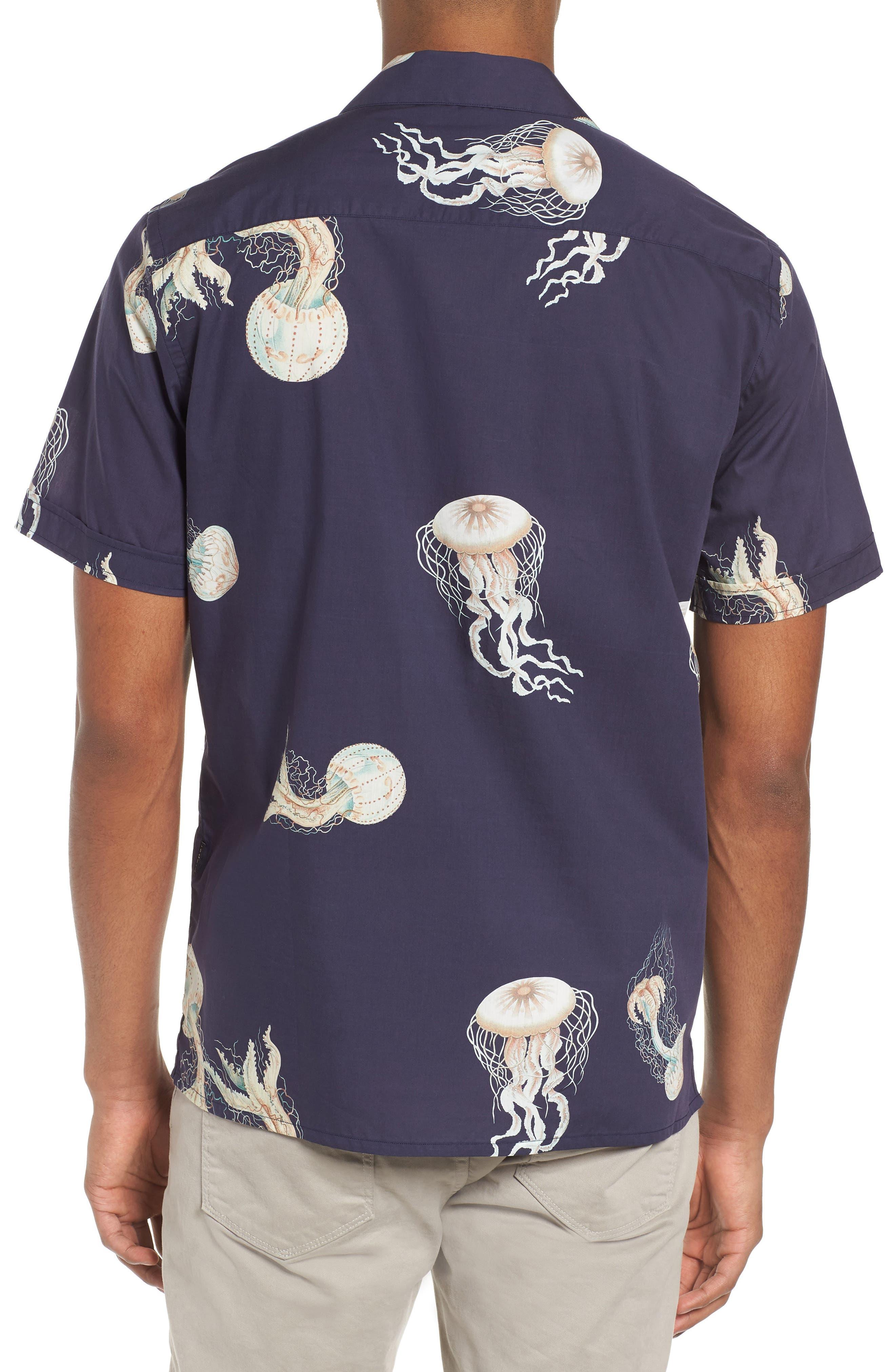 Playa Stripe Oversize Camp Shirt,                             Alternate thumbnail 3, color,                             Jellyfish