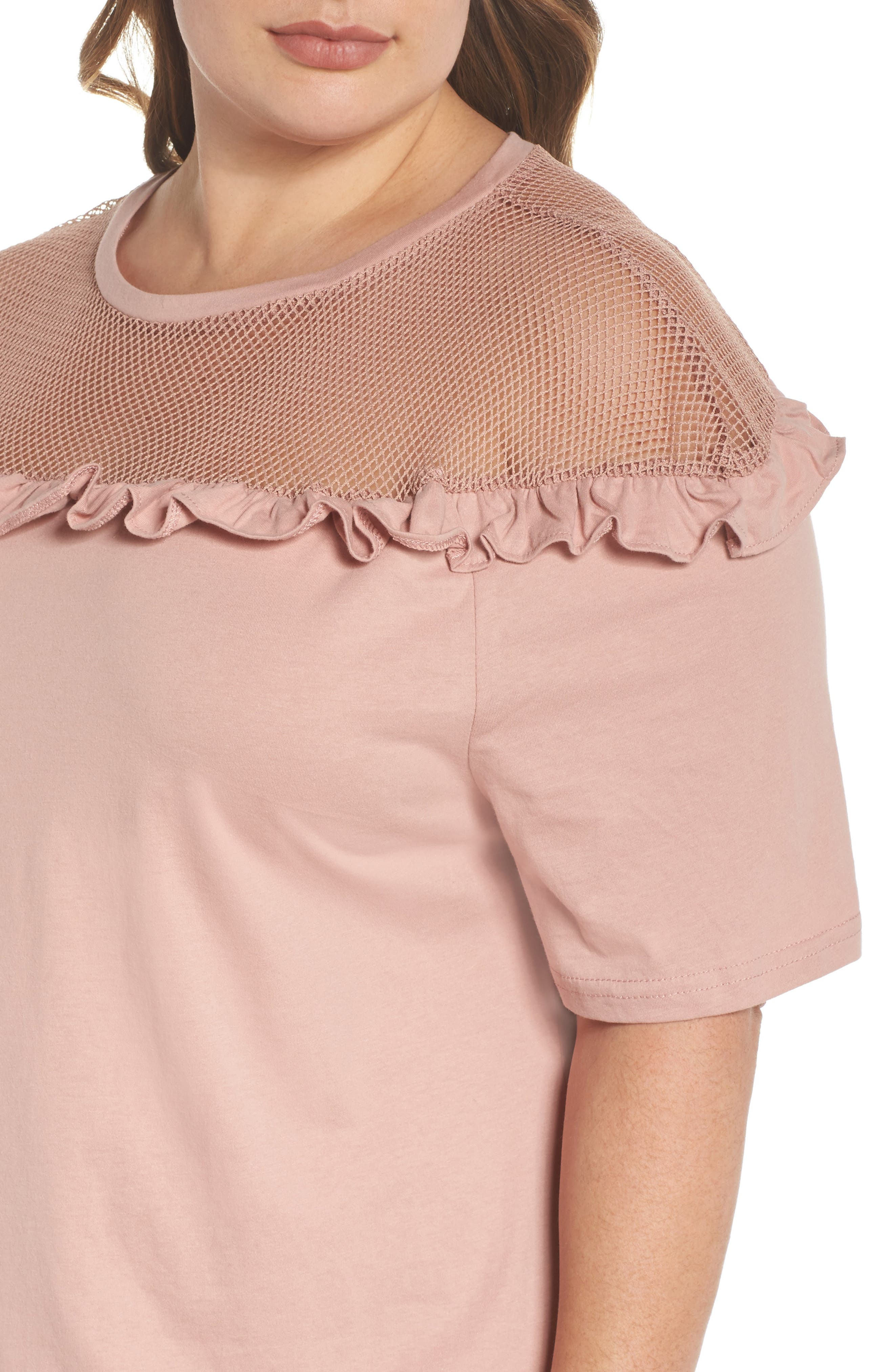 Illusion Neck Shift Dress,                             Alternate thumbnail 4, color,                             Dusty Pink