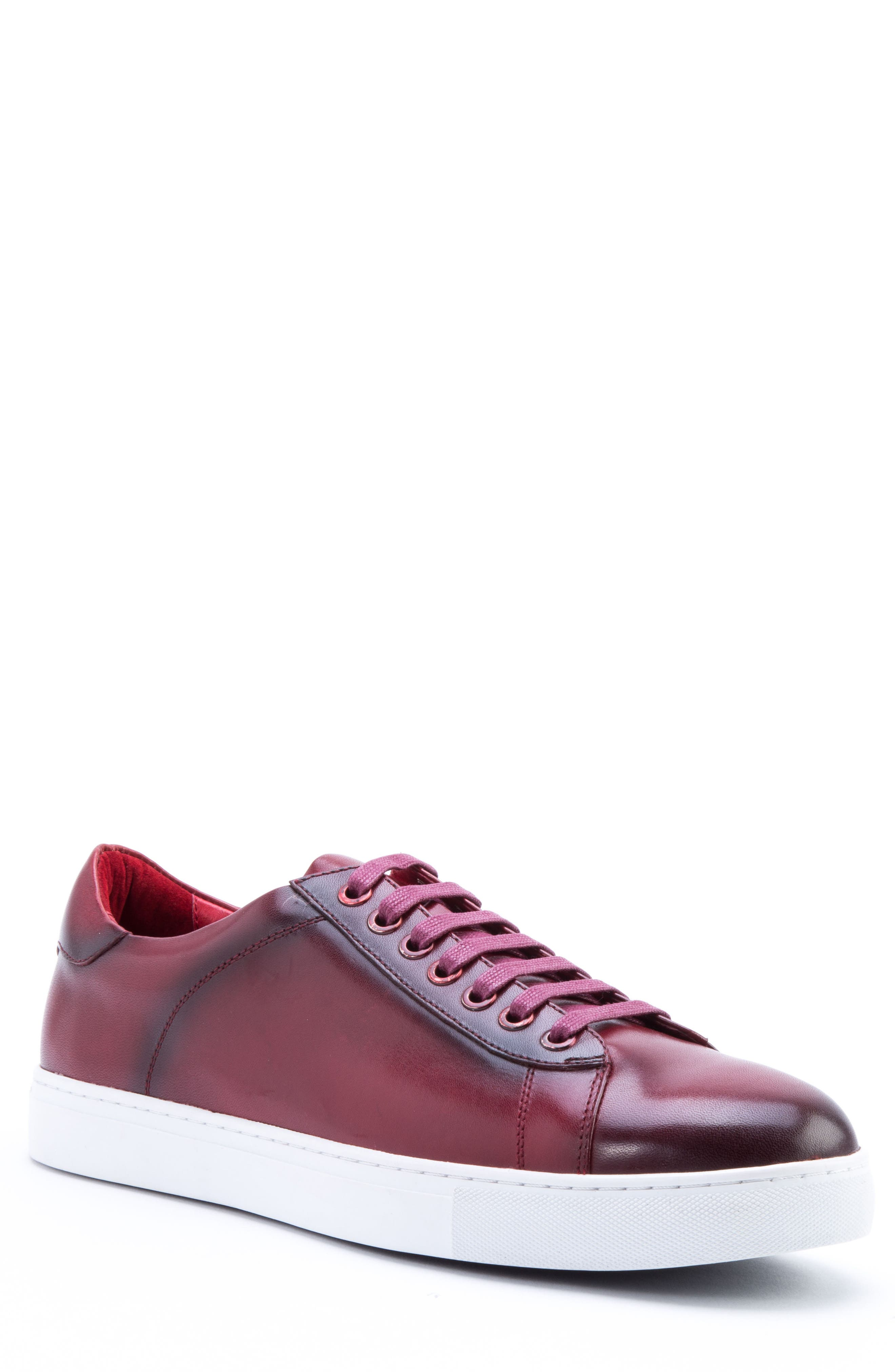Music Low Top Sneaker,                         Main,                         color, Red Leather