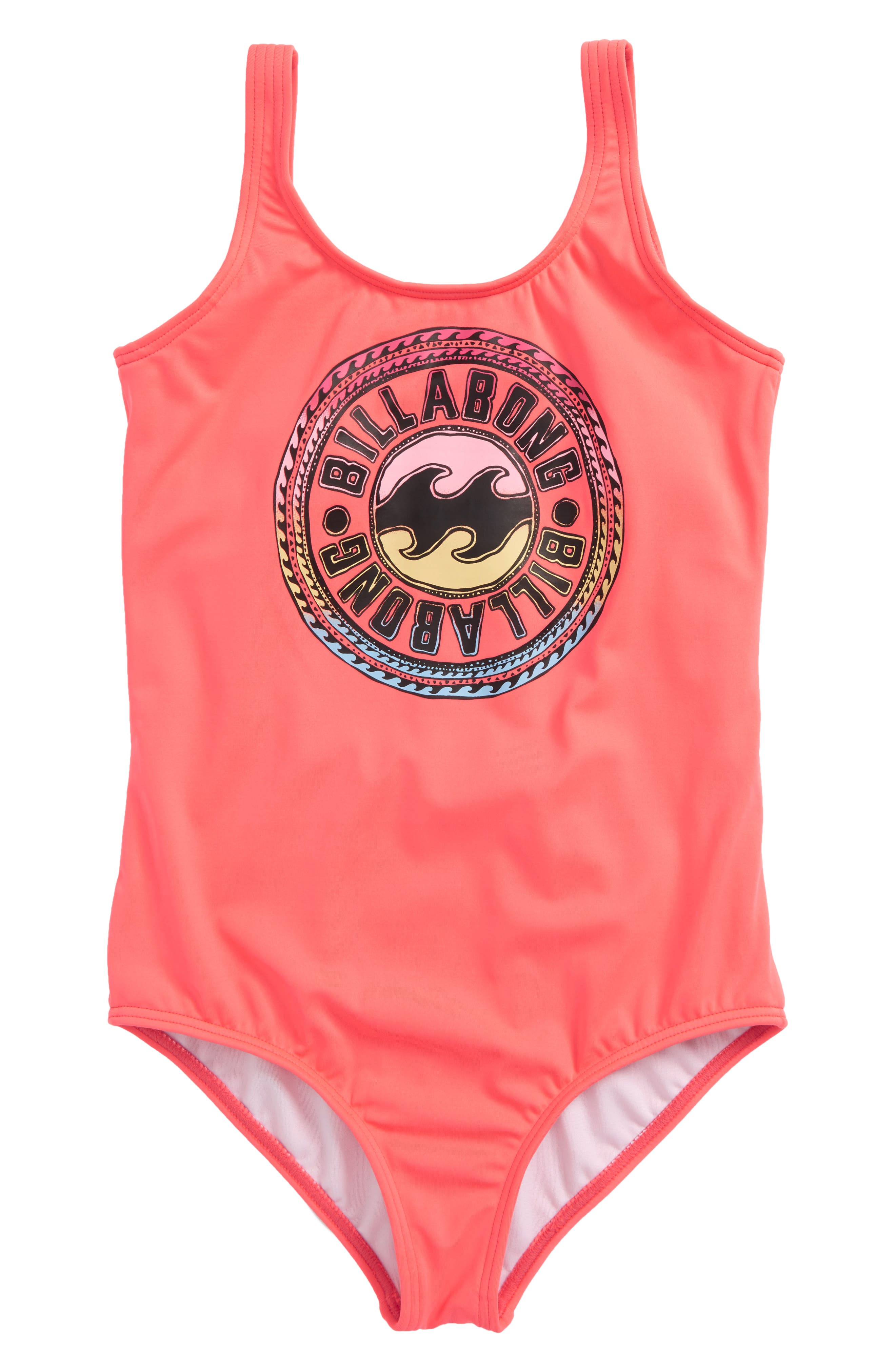 Sol Searcher One-Piece Swimsuit,                             Main thumbnail 1, color,                             Neon Coral