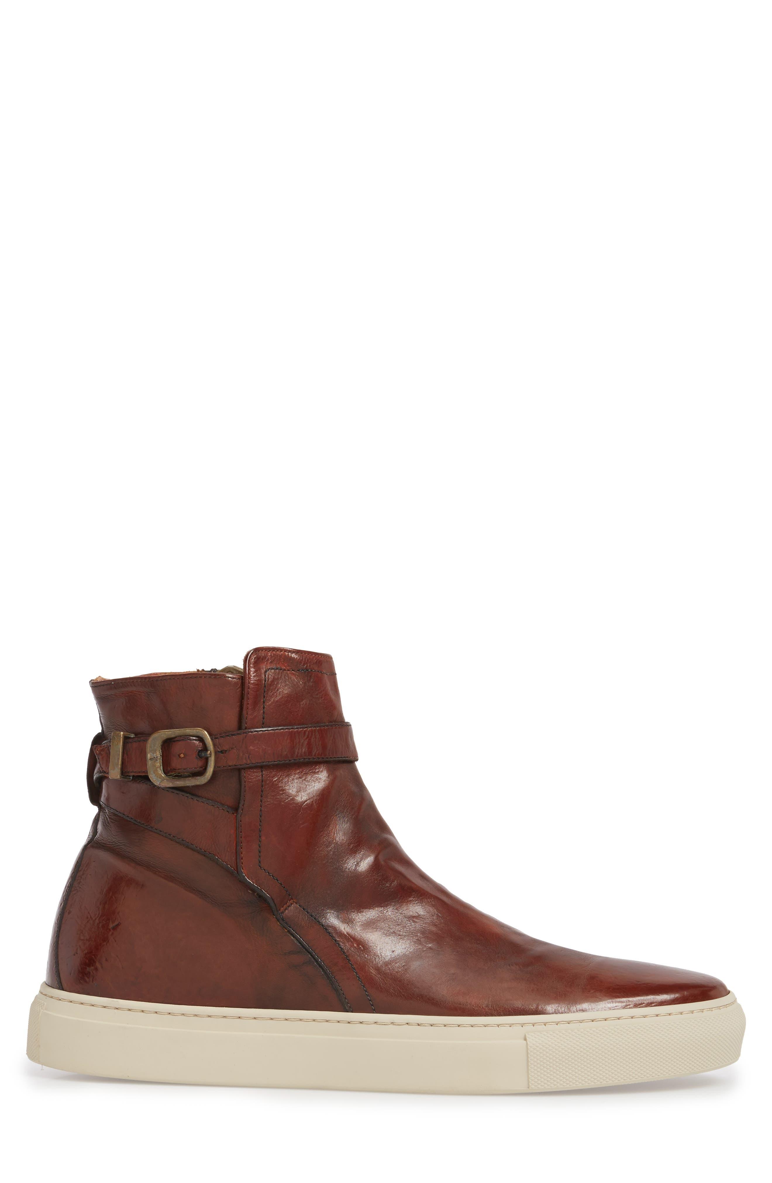 Owen Jodhpur High Top Sneaker,                             Alternate thumbnail 3, color,                             Redwood Leather