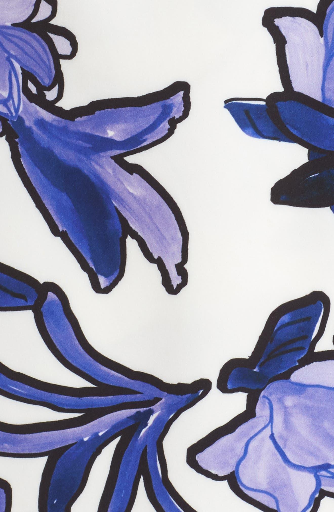 Floral Midi Dress,                             Alternate thumbnail 5, color,                             Ivory Painted Iris Floral