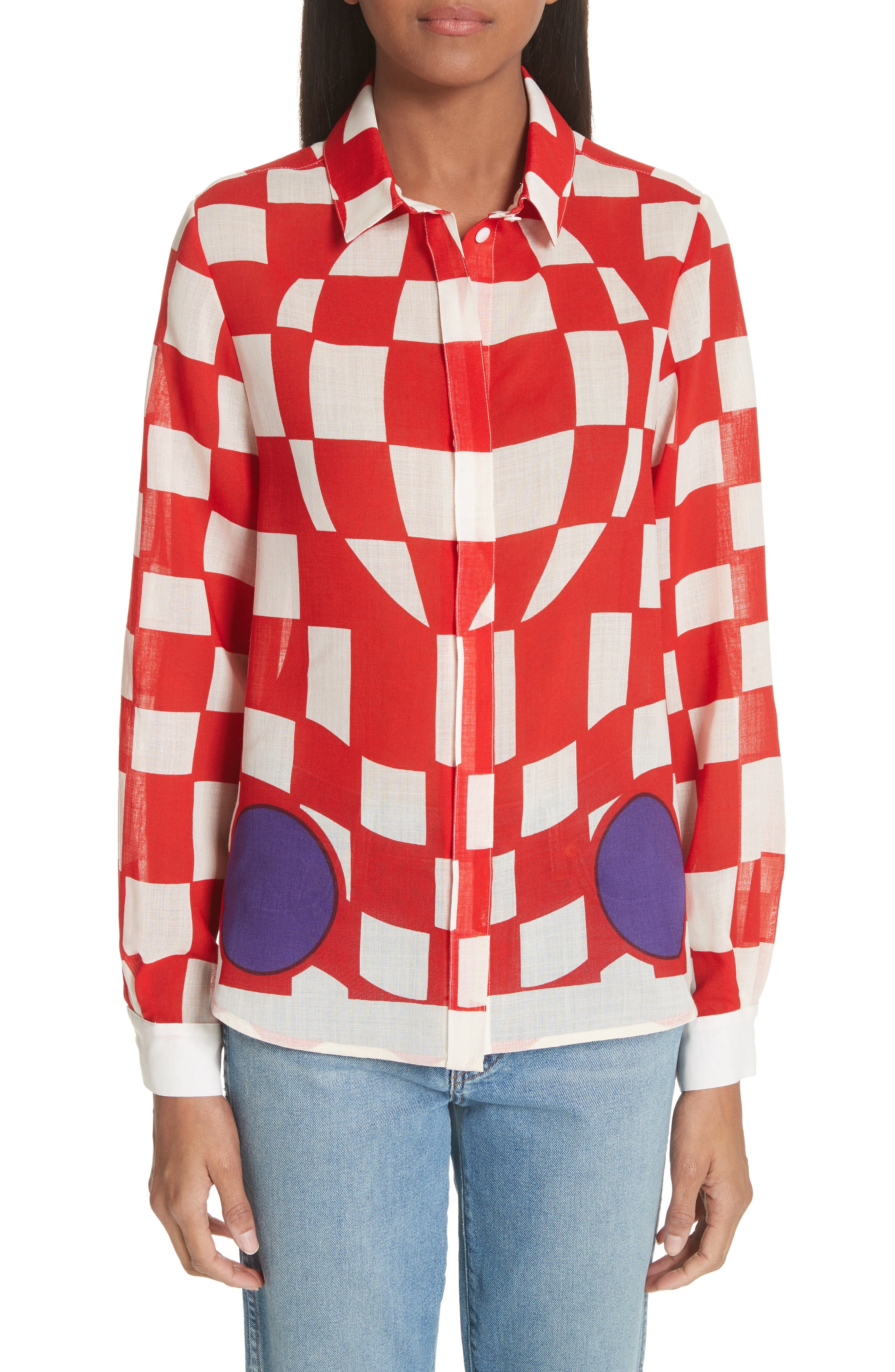 Checkerboard Print Blouse,                         Main,                         color, Pillar Box Red
