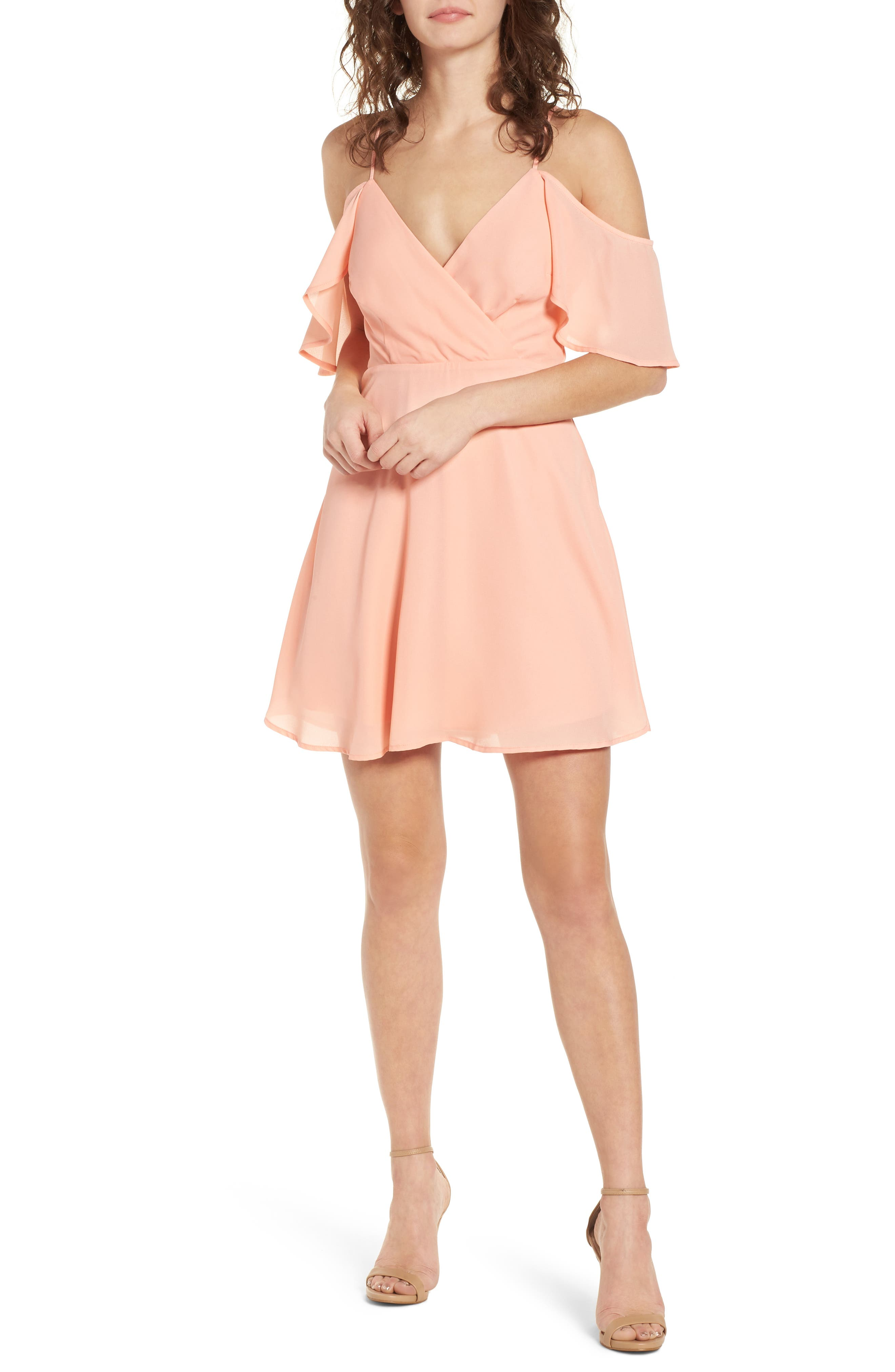 Cold Shoulder Minidress,                             Main thumbnail 1, color,                             Peach