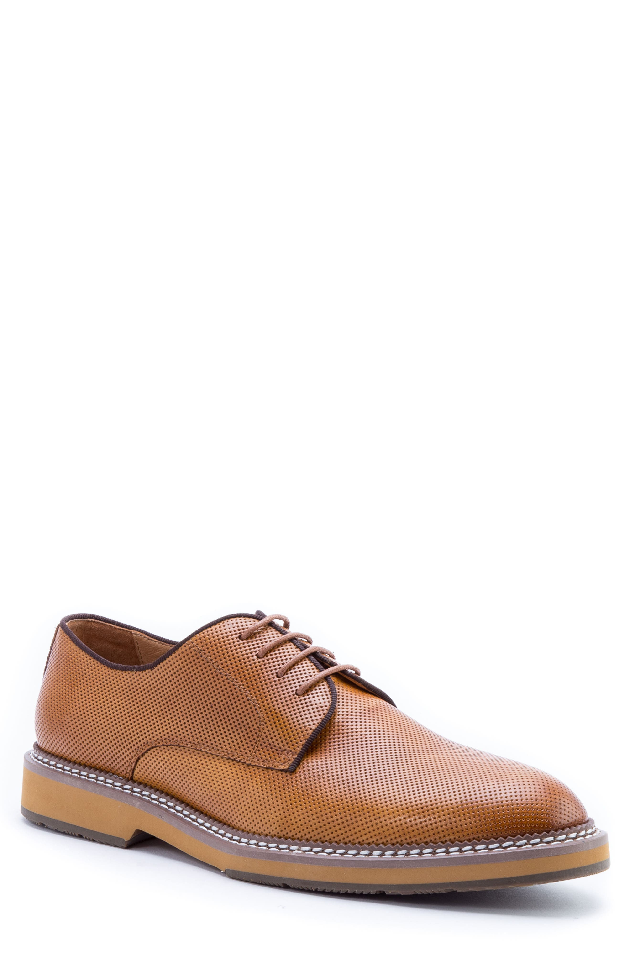 Monticello Perforated Plain Toe Derby,                         Main,                         color, Cognac Leather