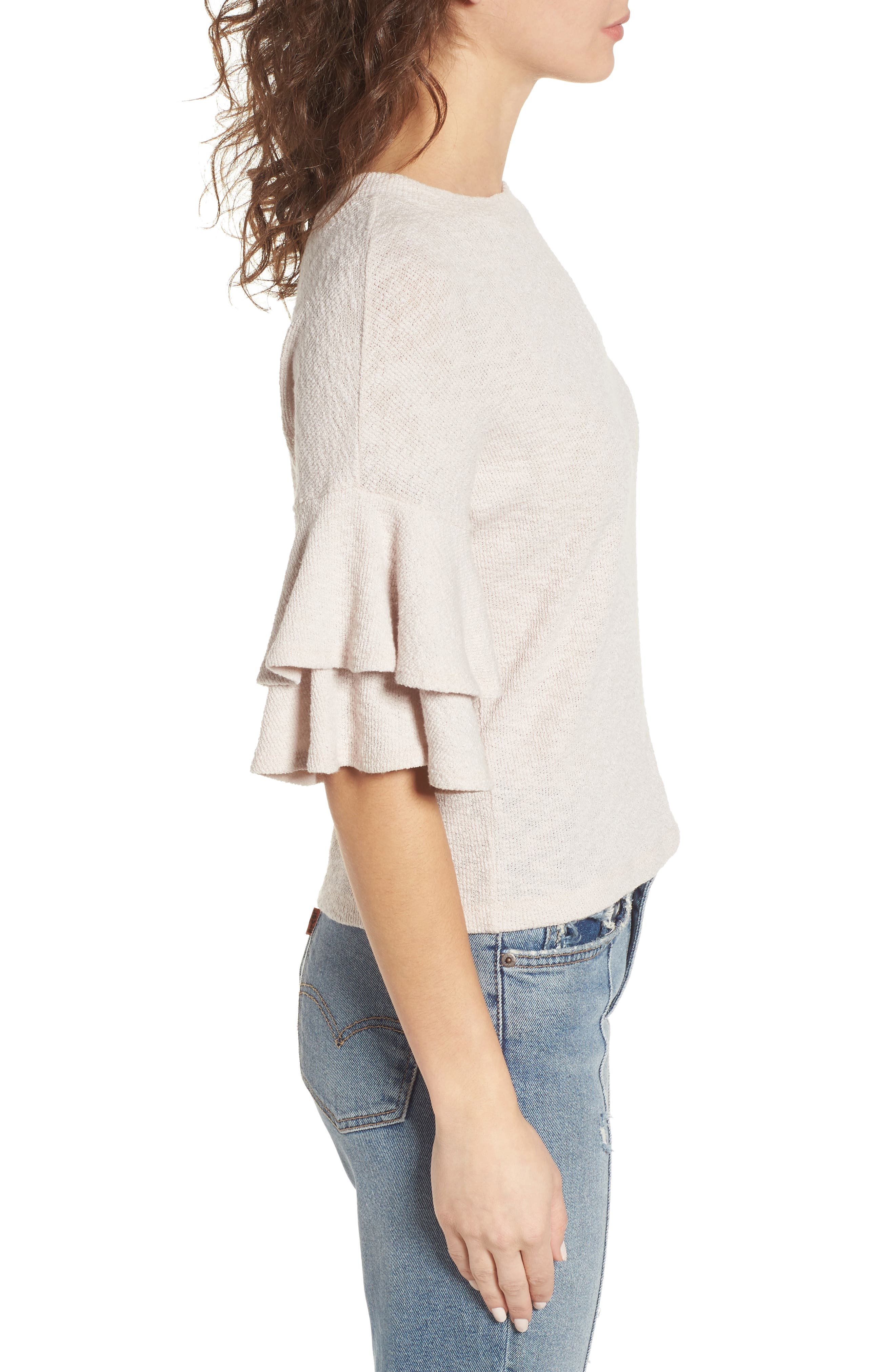 Cherry Blossom Ruffle Sleeve Top,                             Alternate thumbnail 4, color,                             Pale Pink