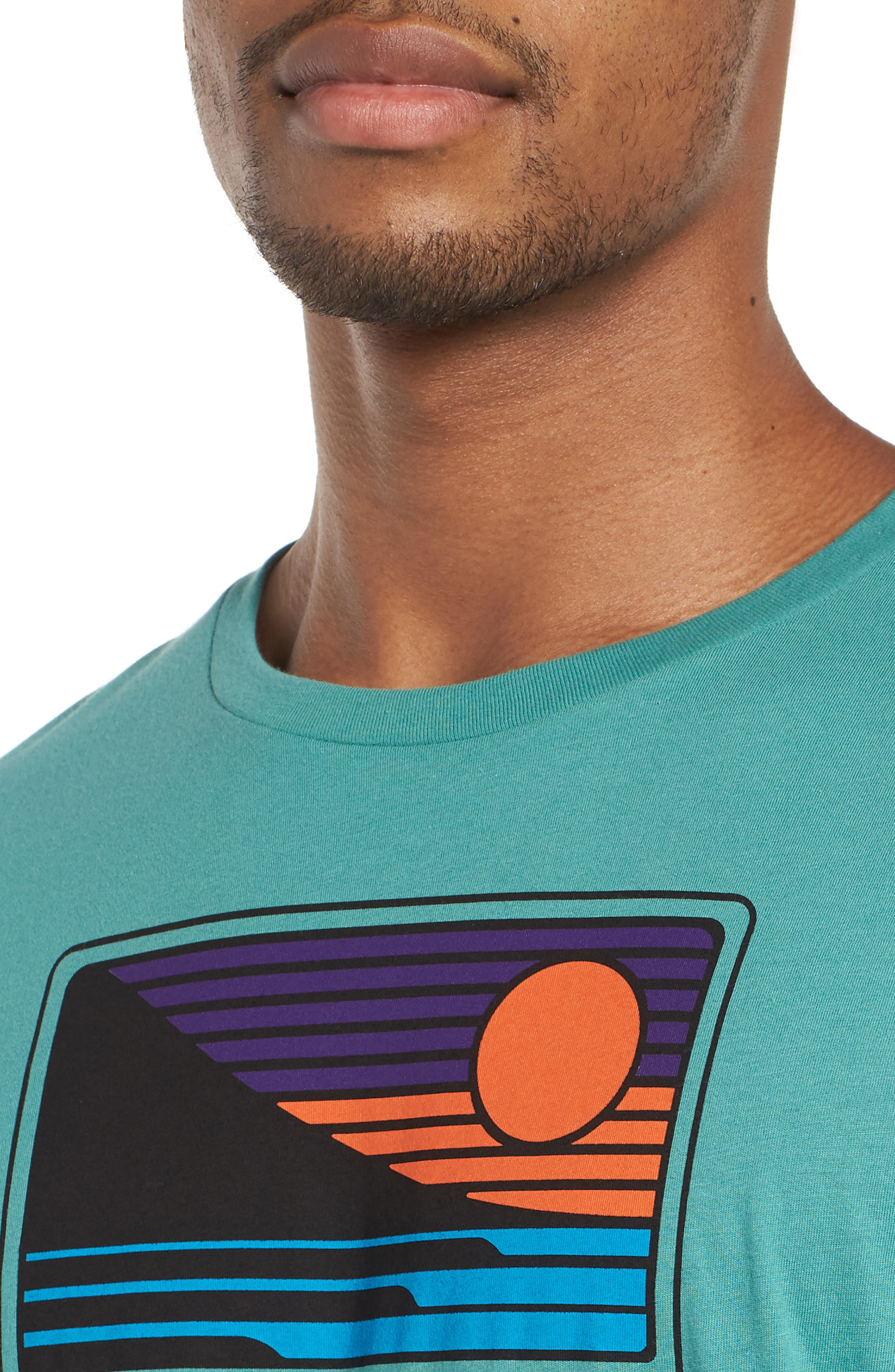 Up & Out Graphic Organic Cotton T-Shirt,                             Alternate thumbnail 4, color,                             Beryl Green
