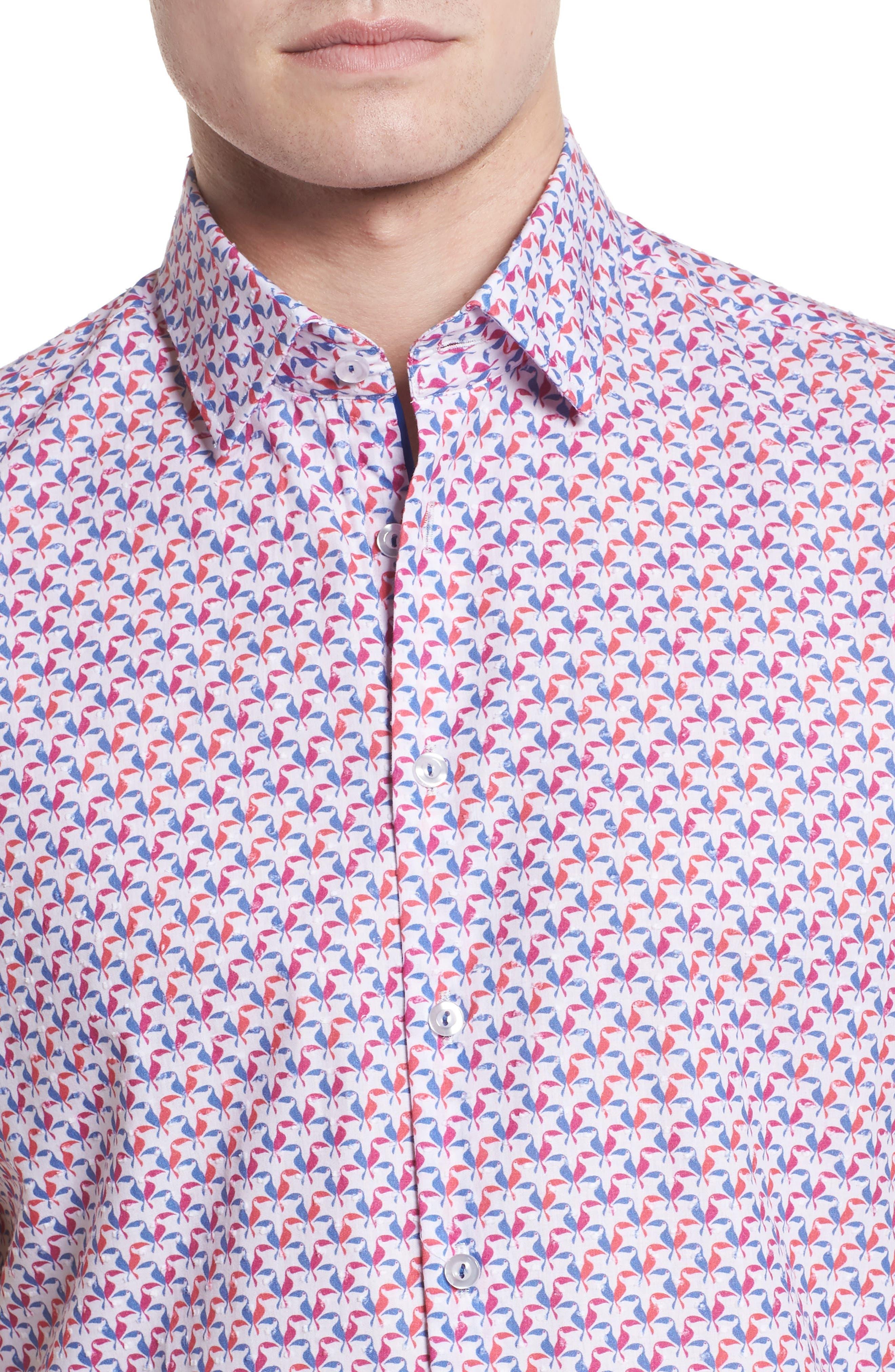 Contemporary Fit Toucan Print Sport Shirt,                             Alternate thumbnail 4, color,                             Berry