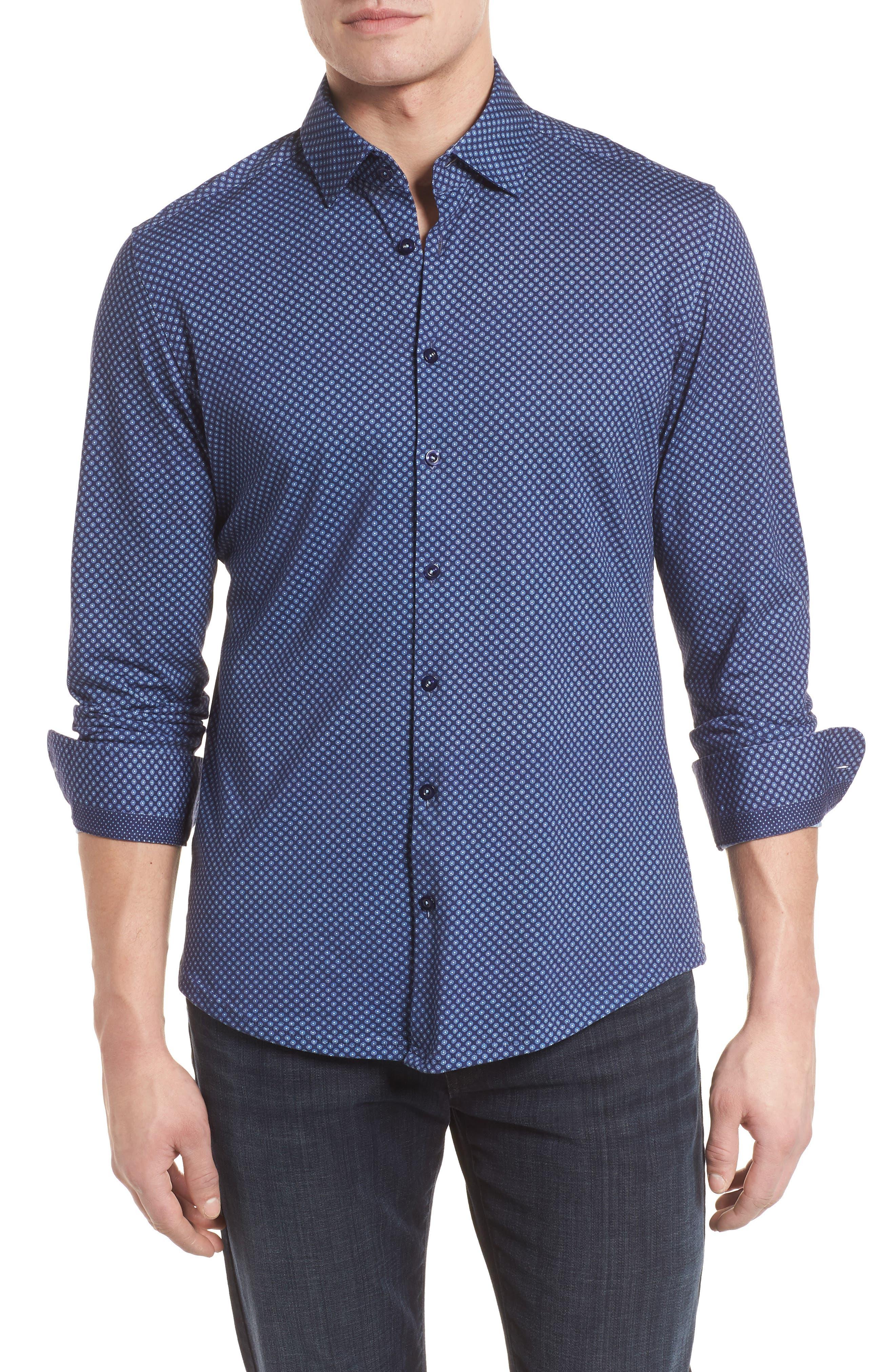 Floral Geo Print Knit Sport Shirt,                             Main thumbnail 1, color,                             Navy