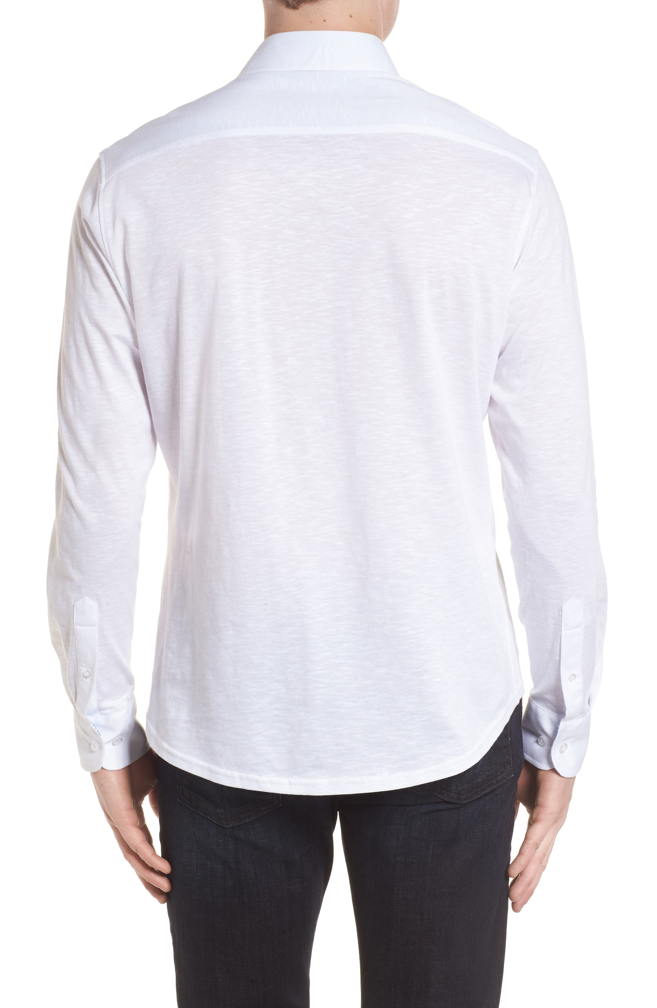 Flame Contemporary Fit Sport Shirt,                             Alternate thumbnail 2, color,                             White