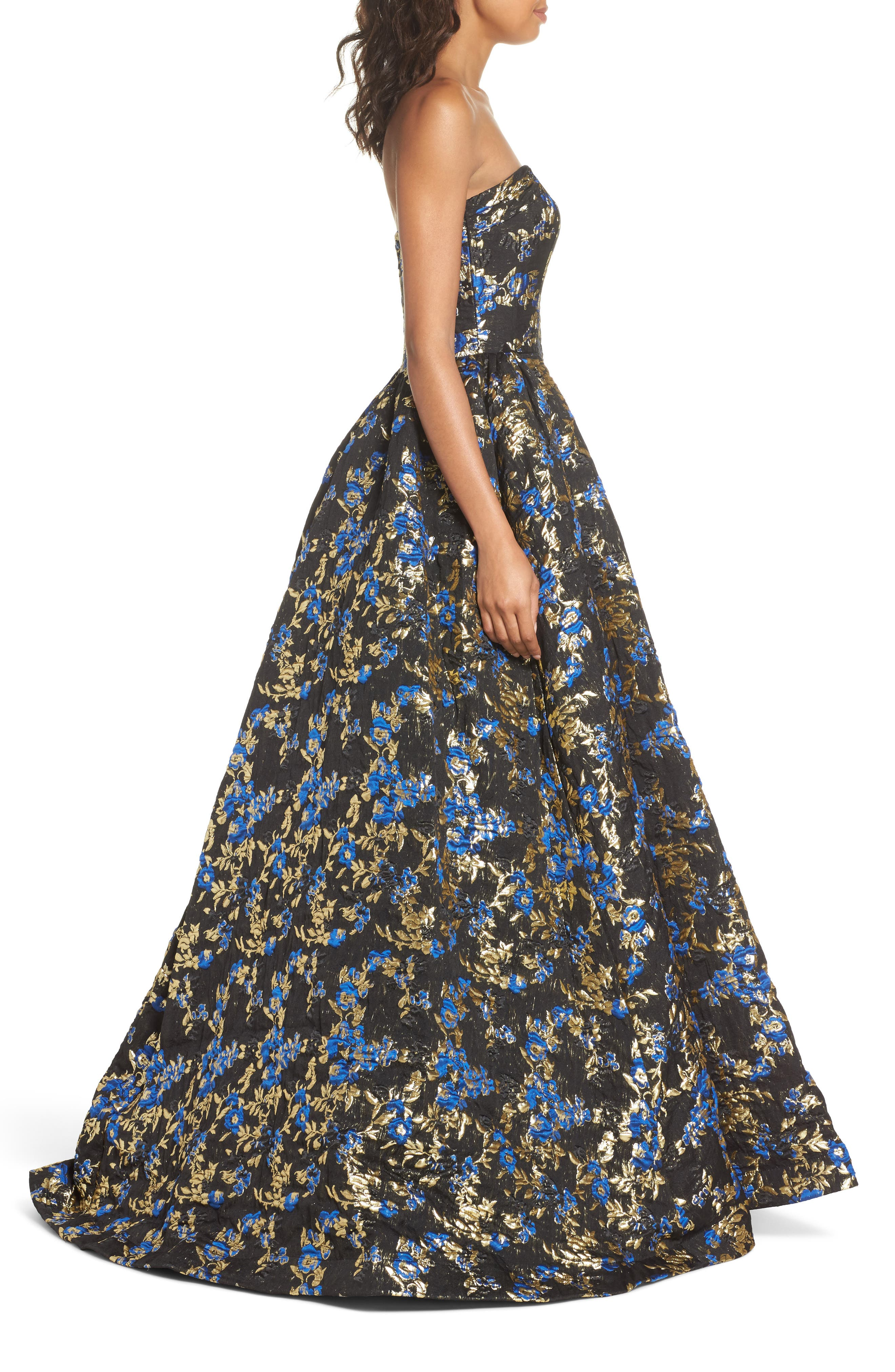 Brocade Bustier Gown,                             Alternate thumbnail 3, color,                             Royal/ Black