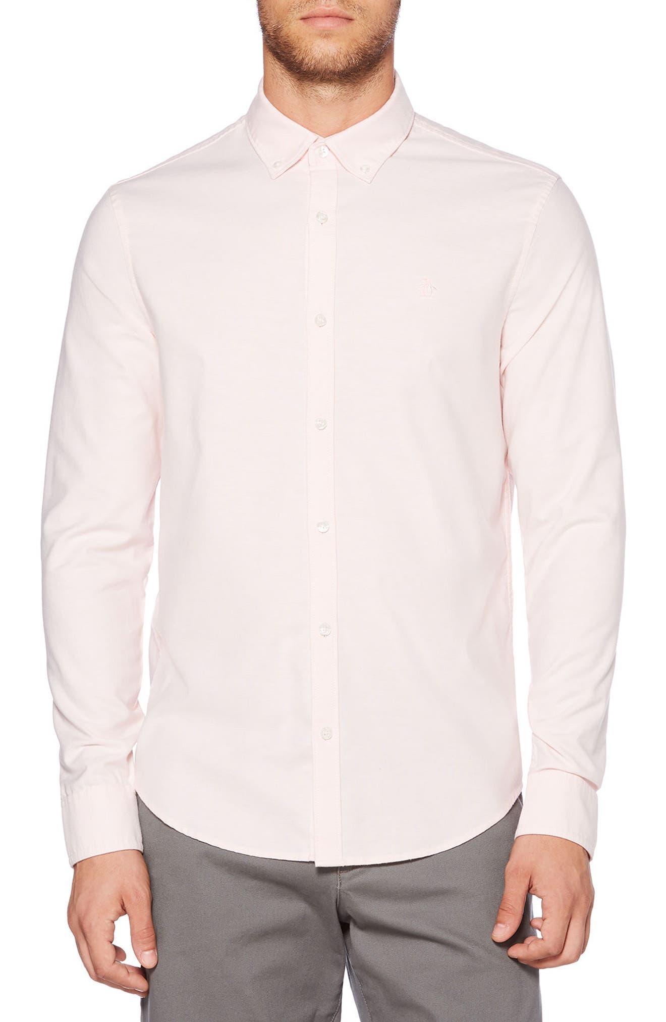 Heritage Slim Fit Oxford Shirt,                         Main,                         color, Impatiens Pink