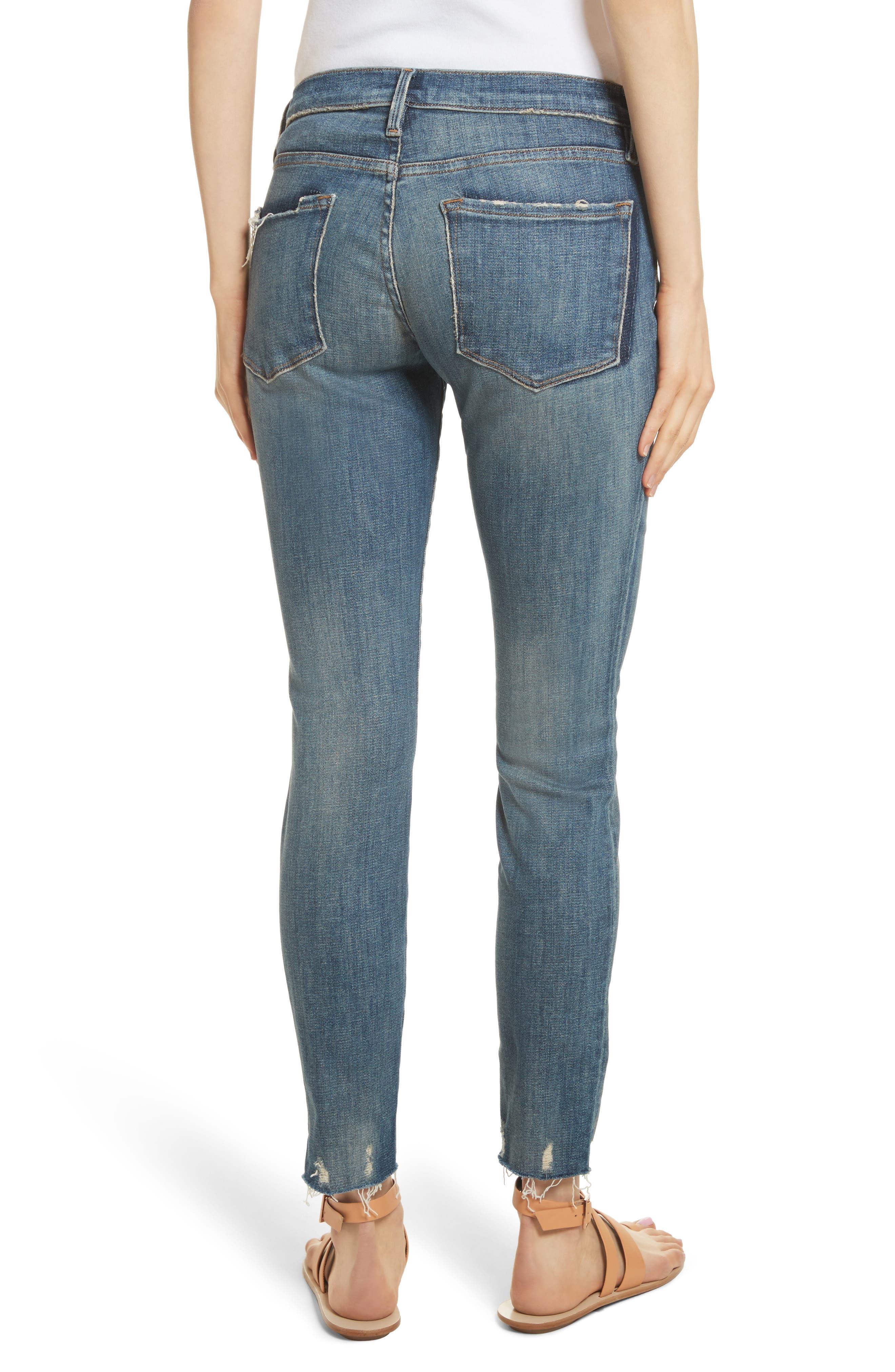 Le Skinny de Jeanne Raw Edge Skinny Jeans,                             Alternate thumbnail 2, color,                             Victoria Park