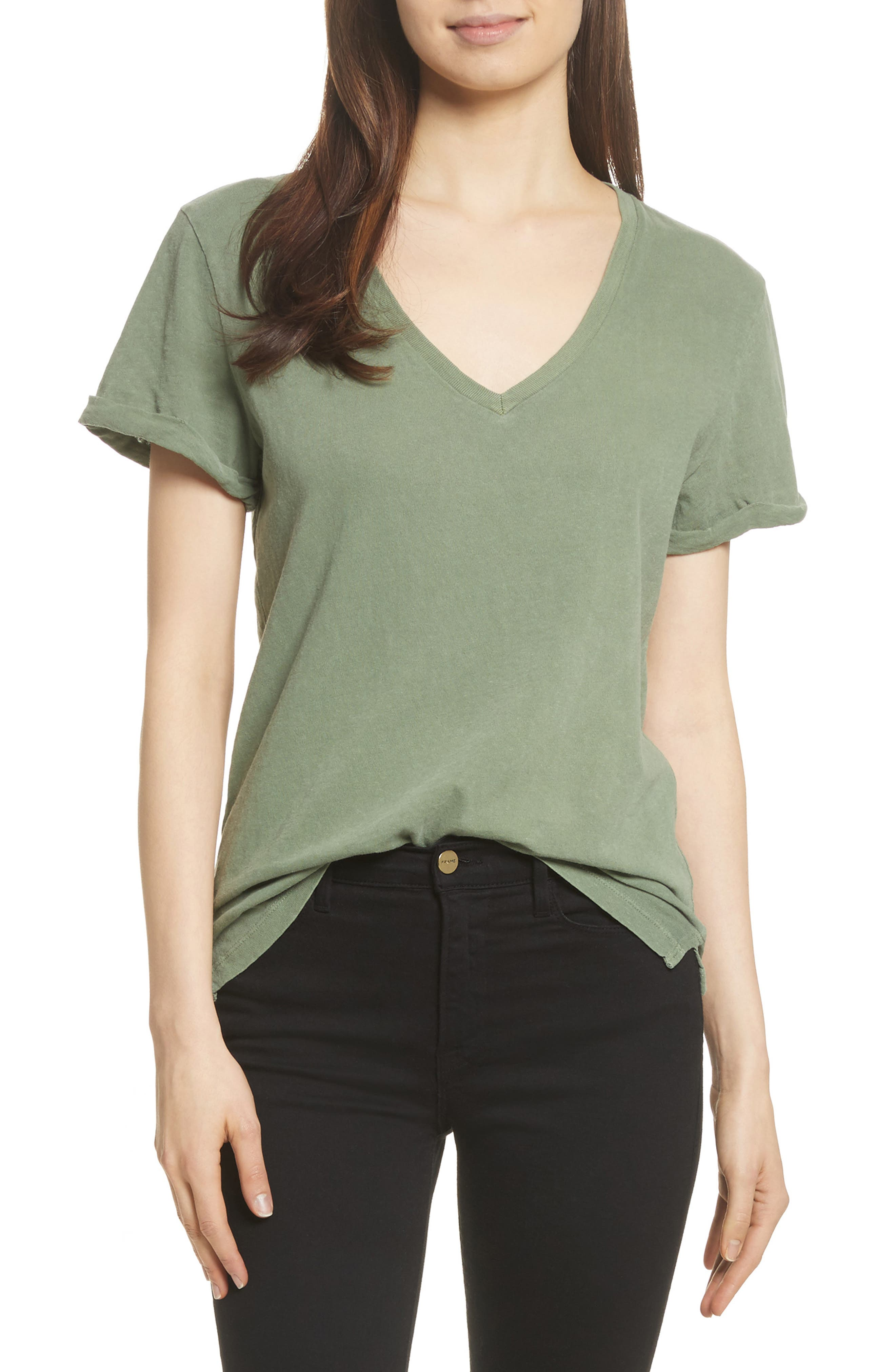 V-Neck Tee,                         Main,                         color, Faded Army