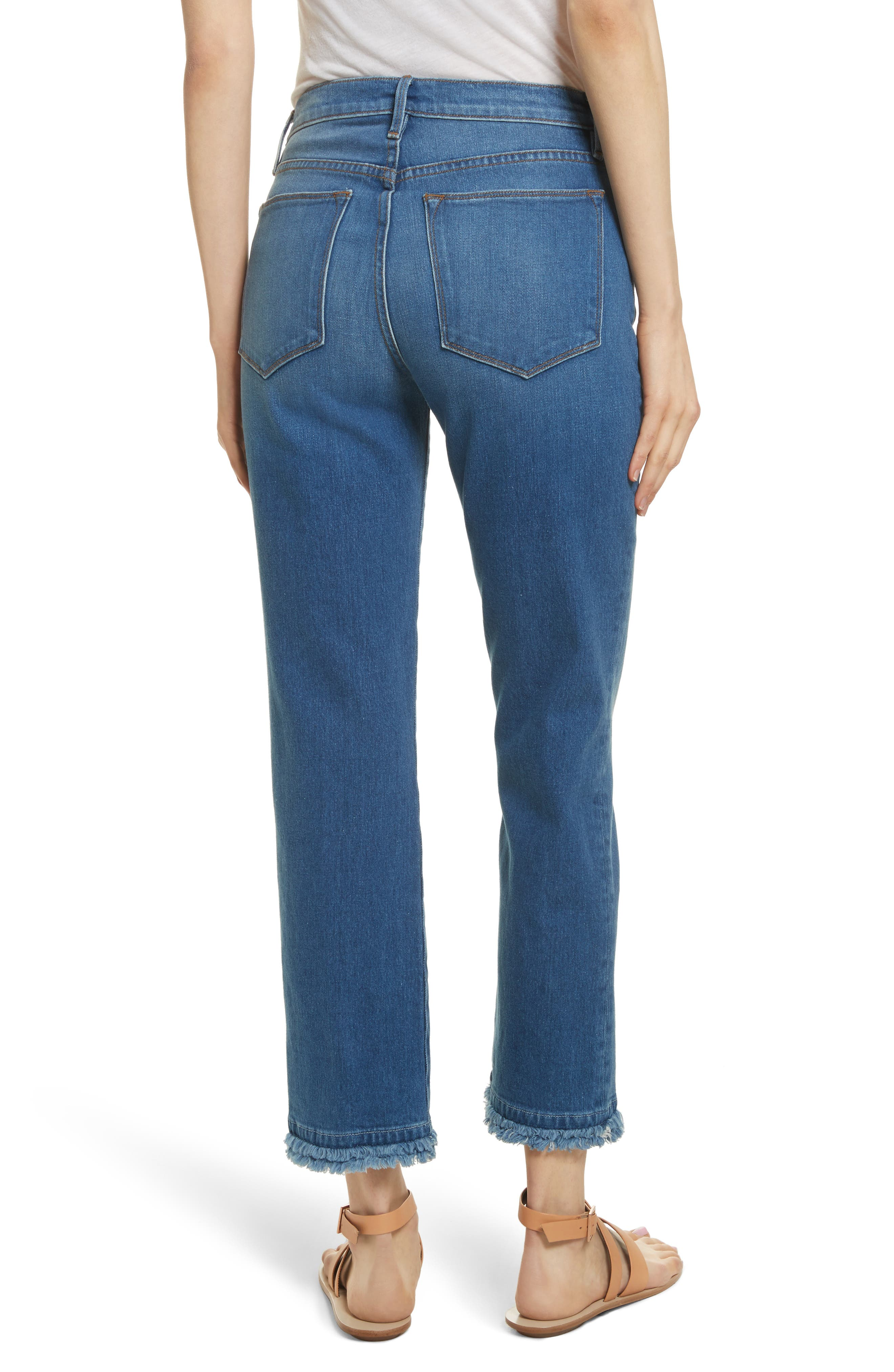 Le High Double Raw Edge High Waist Jeans,                             Alternate thumbnail 2, color,                             Whitway